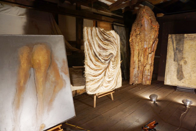 Some of Jagger's work in her studio installation