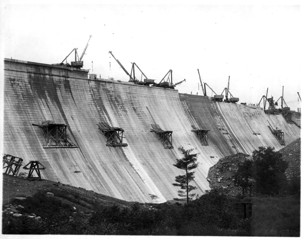 Ashokan Century Program will upgrade dam, dikes, intake structures and more. Pictured, Ashokan Reservoir's main dam during construction in 1911.