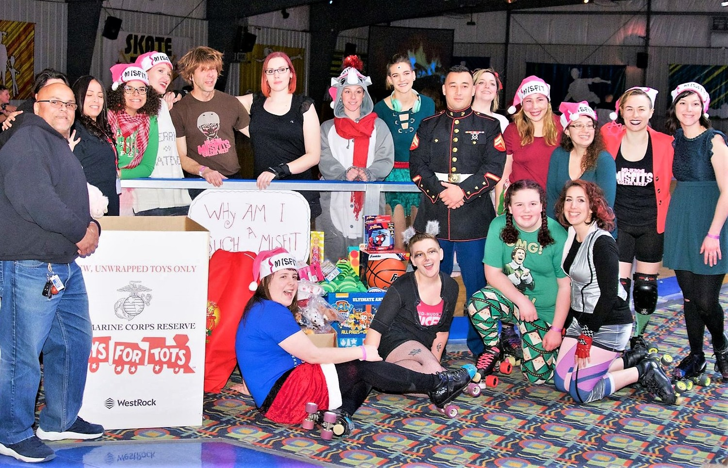 Mid-Hudson Misfits at the Dec. 8 bout, which collected 130 toys for Toys for Tots.