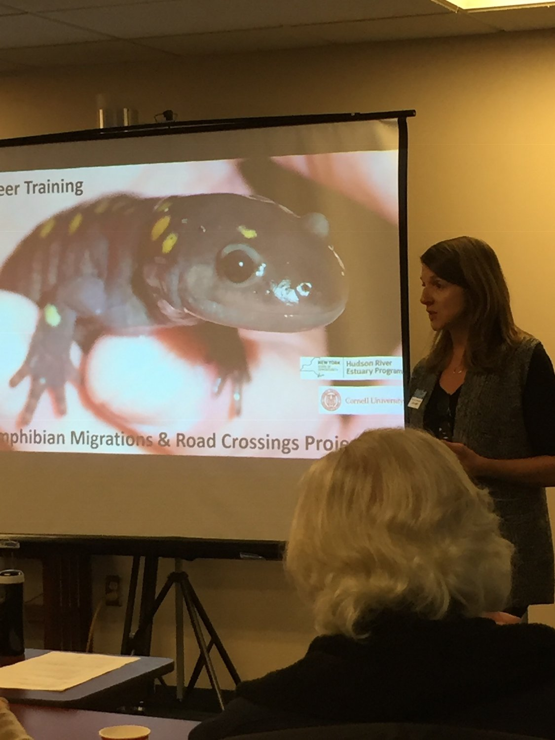 Laura Heady, conservation and land use coordinator, tells volunteers about native amphibians.