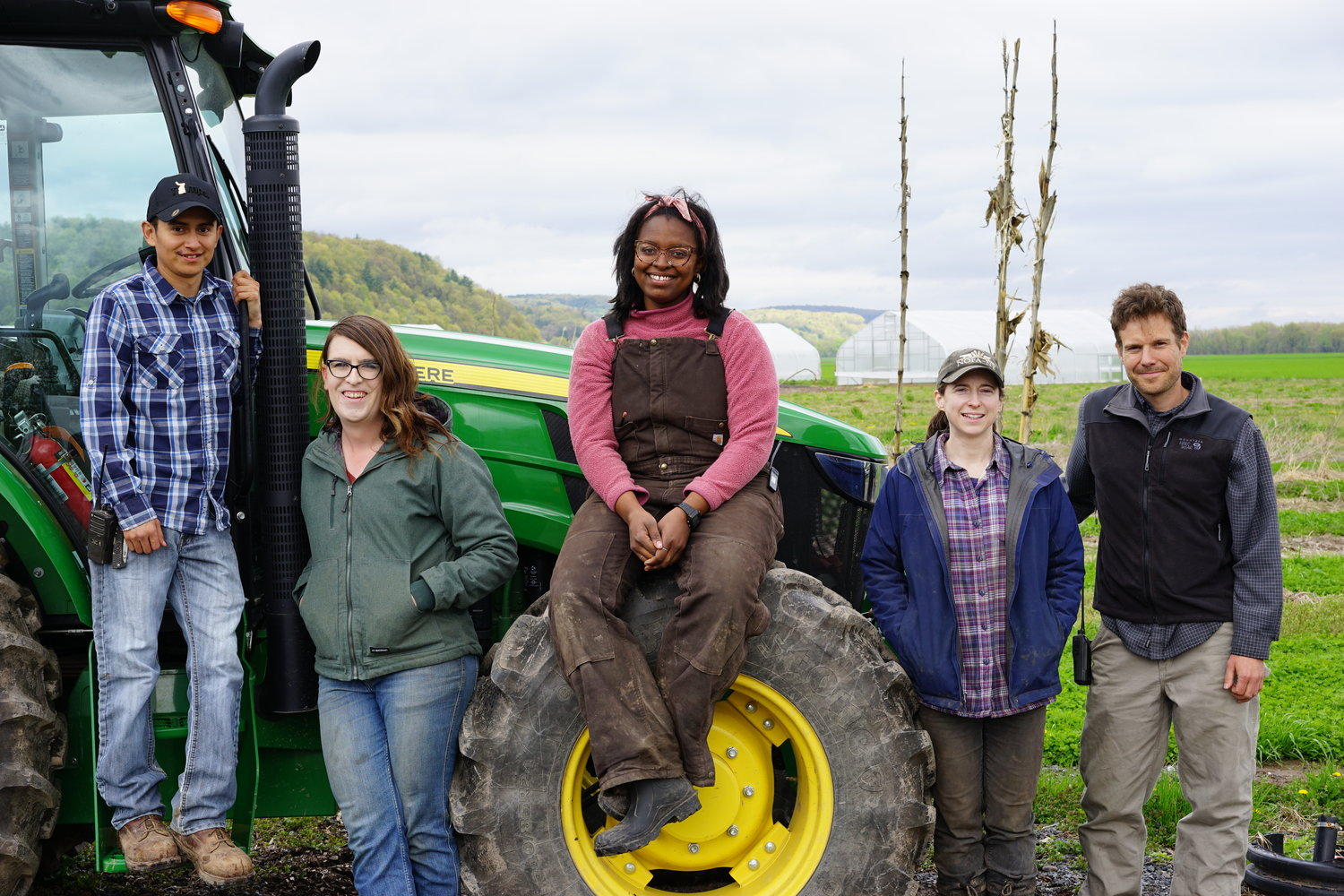 Farm Hub's current farmer trainees Jesus Gonzalez Jr., Jayne Henson, Nailah Marie Ellis, Jess Clancy, and Andrew Casner are members of the Hudson Valley Farm Hub's ProFarmer Program.
