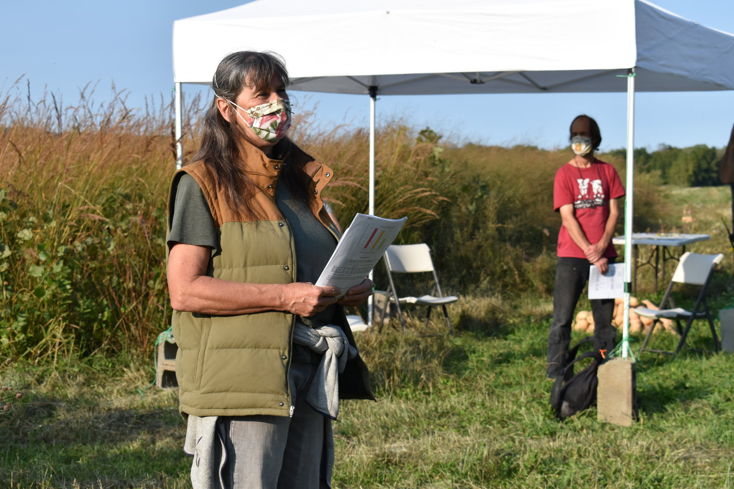 Claudia Knab-Vispo of Hawthorne Valley presents at the Native Meadow Twilight Meeting at the Hudson Valley Farm Hub in September 2021.