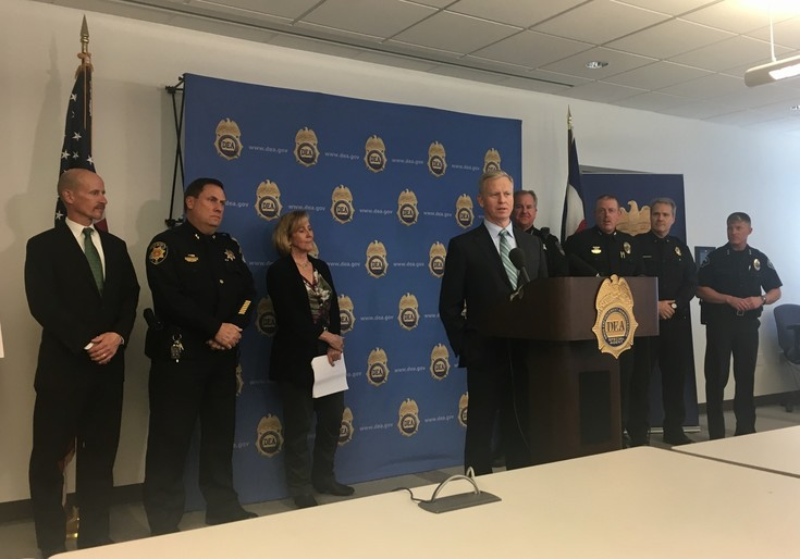 18th Judicial District Attorney George Brauchler announces the indictment of 16 people connected to a marijuana-trafficking ring. Photo by Jessica Gibbs