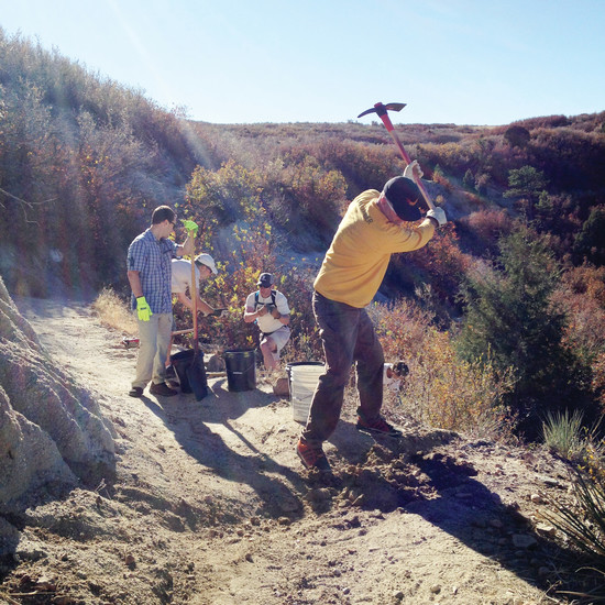 Members of the Ridgeline Wranglers often work to fix water erosion along the trails.