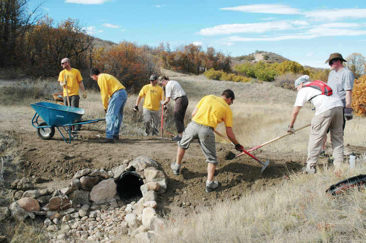 The Ridgeline Wranglers are a volunteer group that help maintain trails in the Ridgeline Open Space.