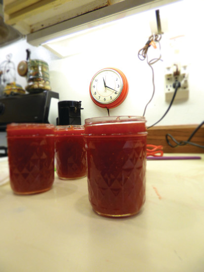 Joanne Littau's jam all ready for sealing. Joanne makes two batches a day, most days of the month.