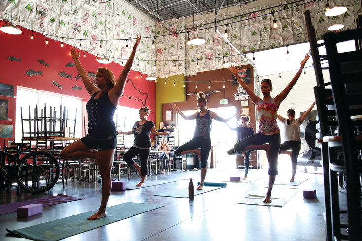 The yoga class is held every other Saturday before the brewery opens for business.