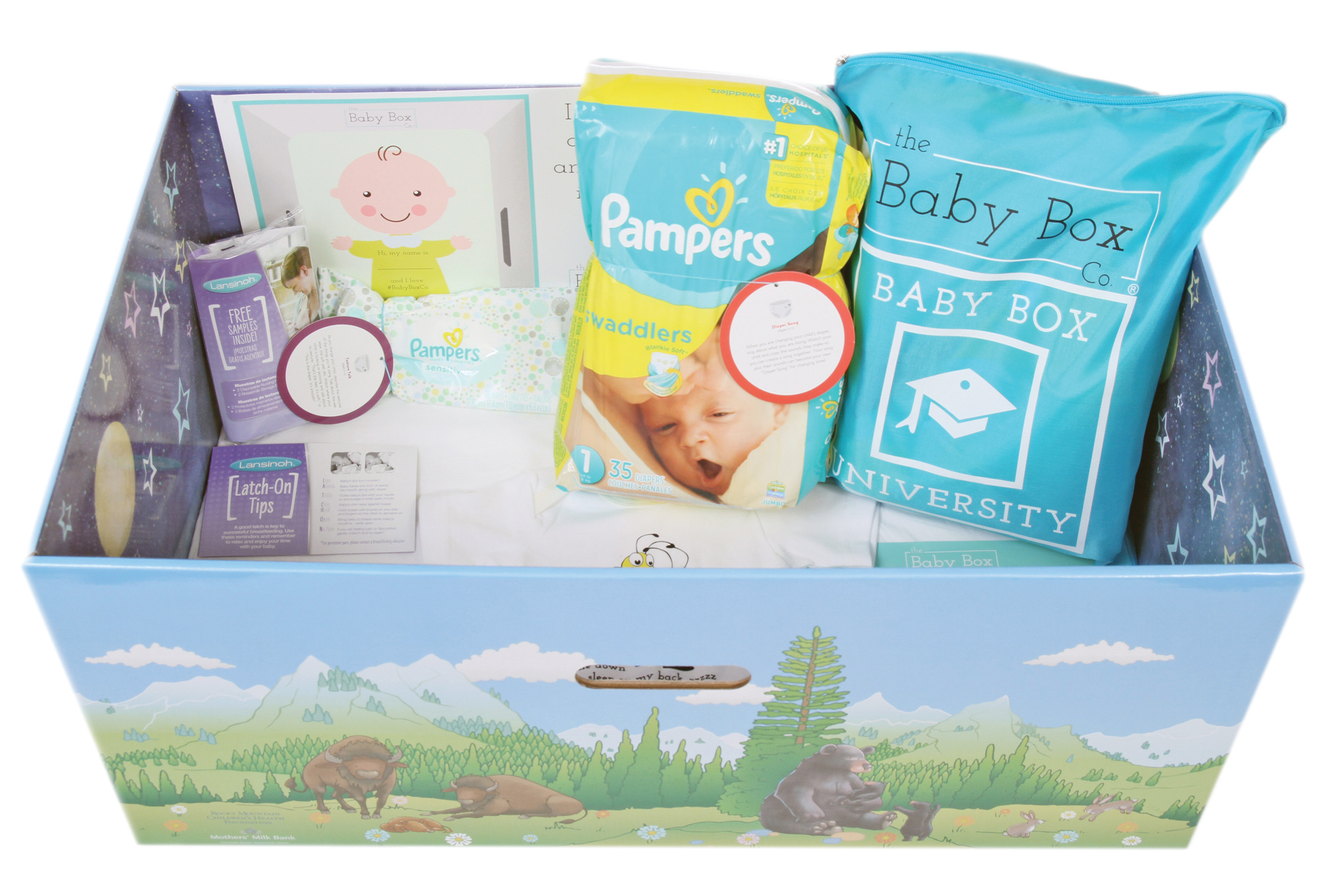In addition to the certified box with mattress, new parents also receive diapers, wipes and breast-feeding supplies.