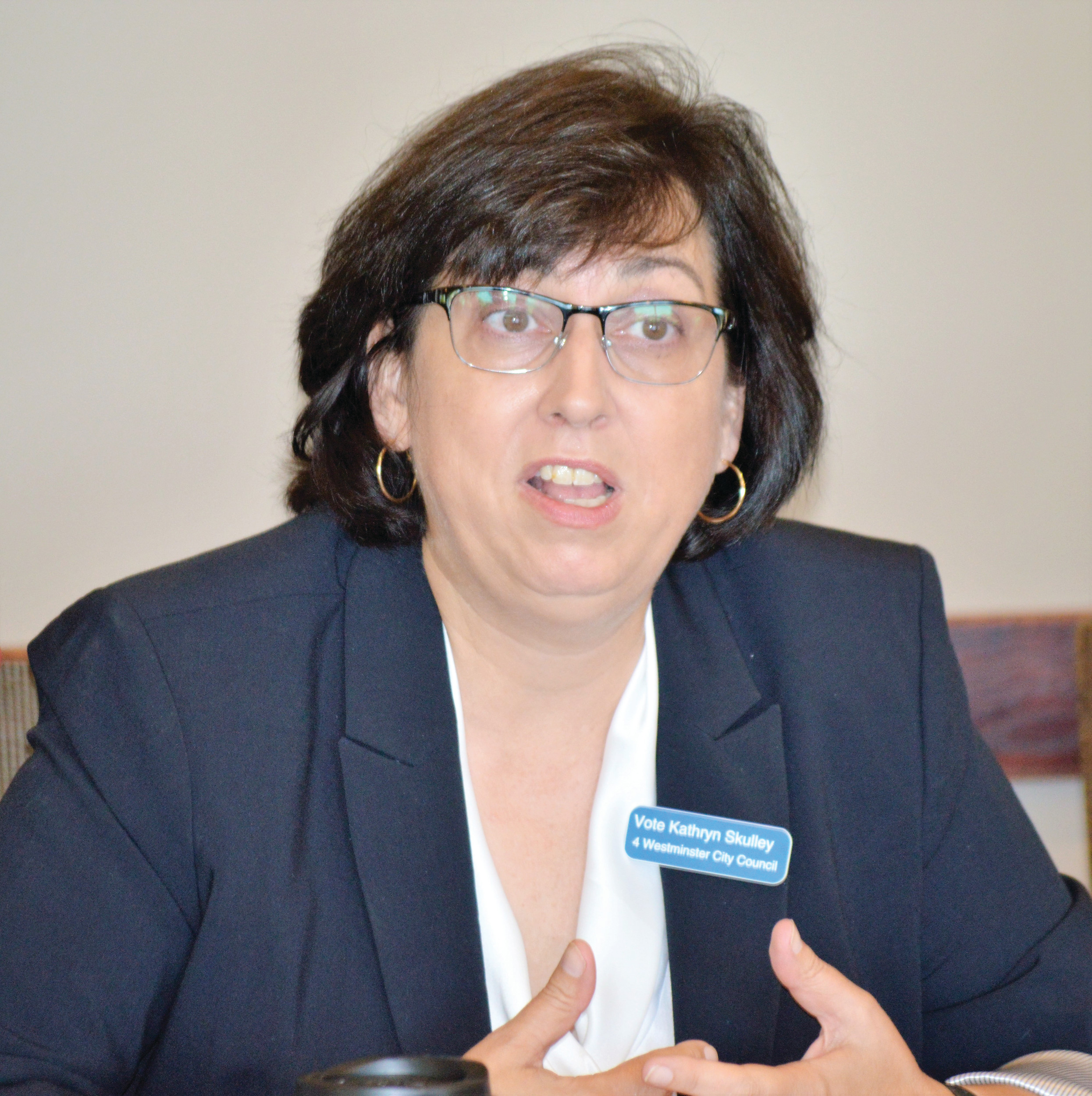 Westminster City Council candidate Kathryn Skully speaks at the Jeff-West Community Forum Aug. 25.