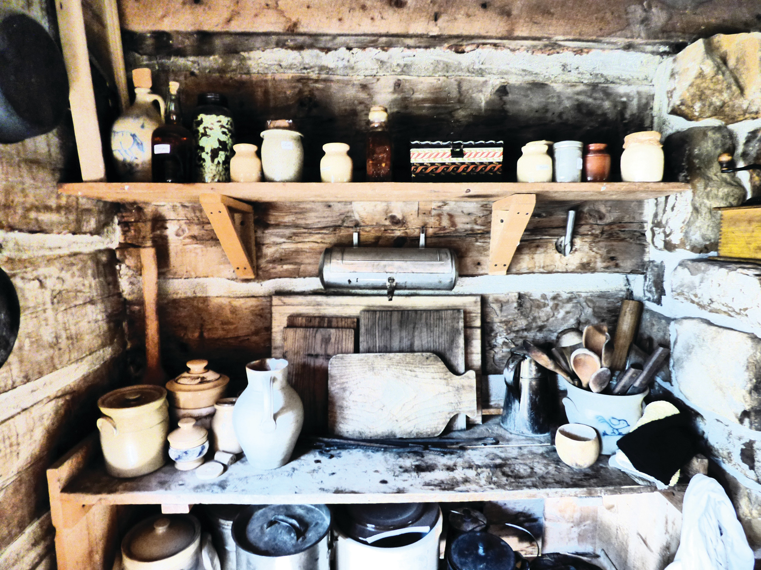 The kitchen in the McBroom cabin. Stoves were too expensive for most early settlers, who cooked over open fires or in fireplaces.