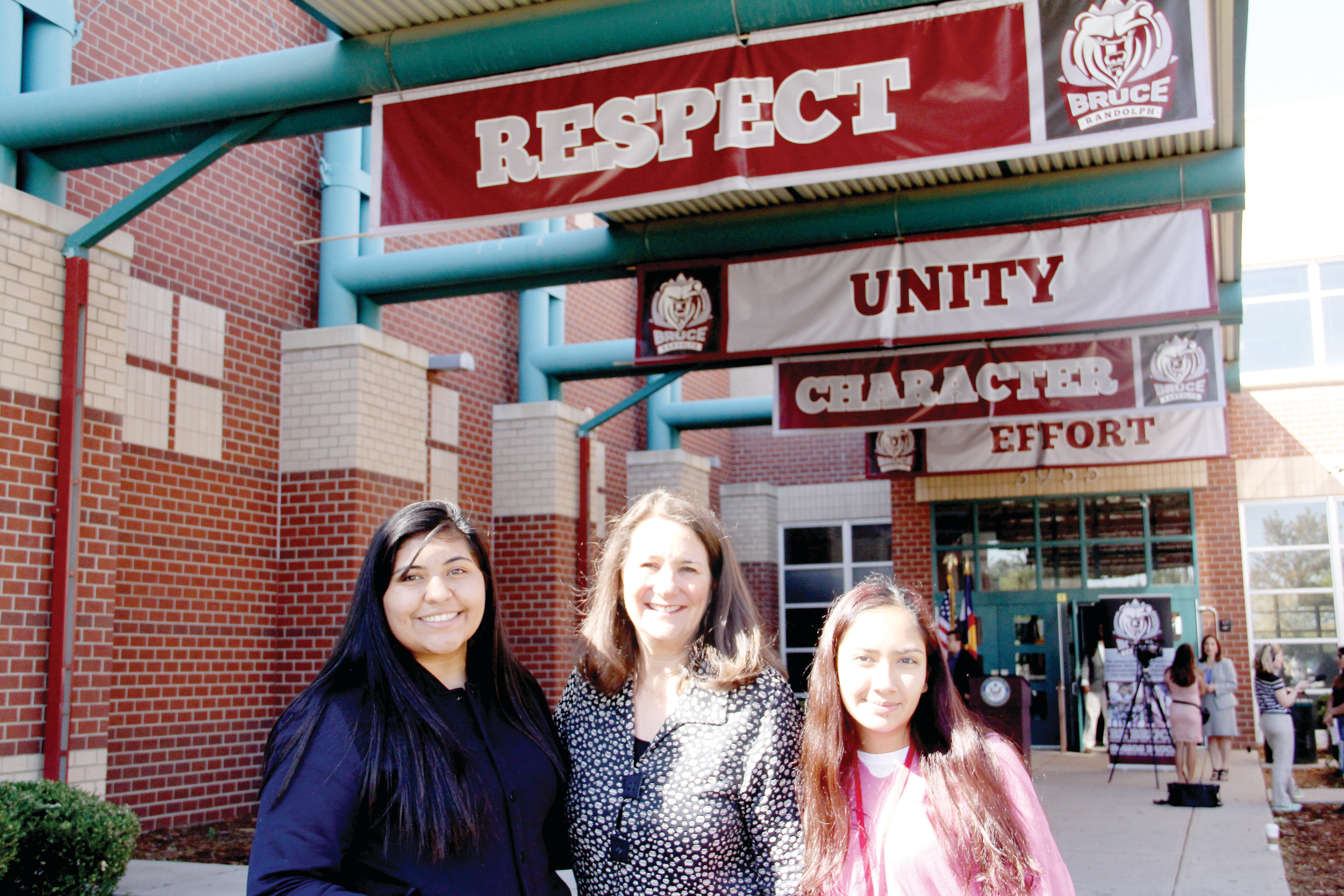 "Democratic U.S. Rep. Diana DeGette stands with Seleste, left, and Vanessa, right, after holding a listening session at Bruce Randolph School in Denver Sept. 20 with DACA students and those with ties to undocumented immigrants. Vanessa and Seleste were born in the U.S., but Seleste's stepfather was deported this year, and Vanessa's father is in the deportation process this month. Her brother is able to work under DACA, a program the Trump administration has announced will end in March unless Congress effectively extends it. ""I understand laws have to be passed … but stopping DREAMers — (how) does that benefit the country?"" Seleste said."