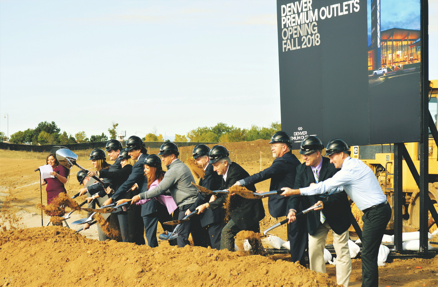 Simon officials join City of Thornton representatives Oct. 6 moving shovels full of dirt at the official groundbreaking of the company's new Premium Outlet mall, at the corner of Interstate 25 and U.S. 36.