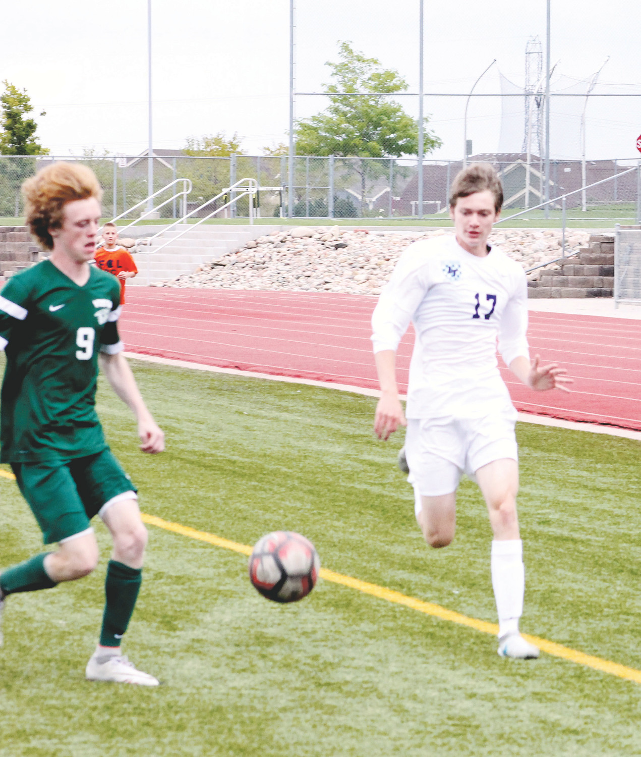 Consistent running speed can be used as a weapon to score goals in soccer. Here, Legend's Josh Harnden, right, and Mountain Vista's Nate Robinson race after the ball in a Continental League game earlier this season.
