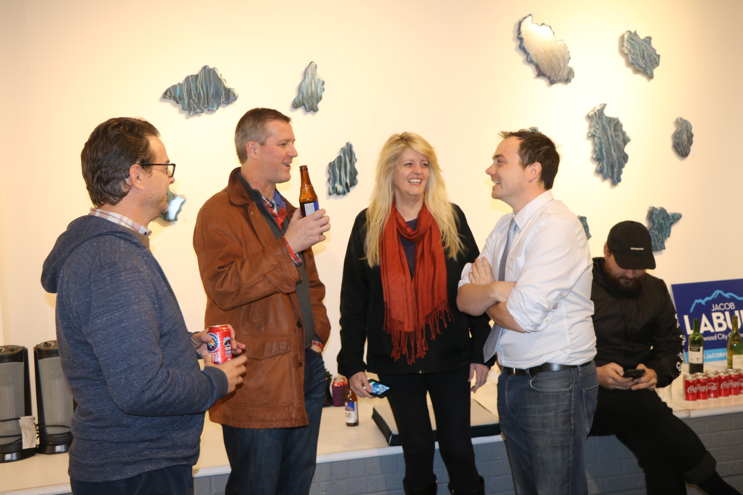 Ward 2 candidate Jacob LaBure celebrated a positive election with friends and supporters at the NEXT Gallery in the 40 West Arts District.