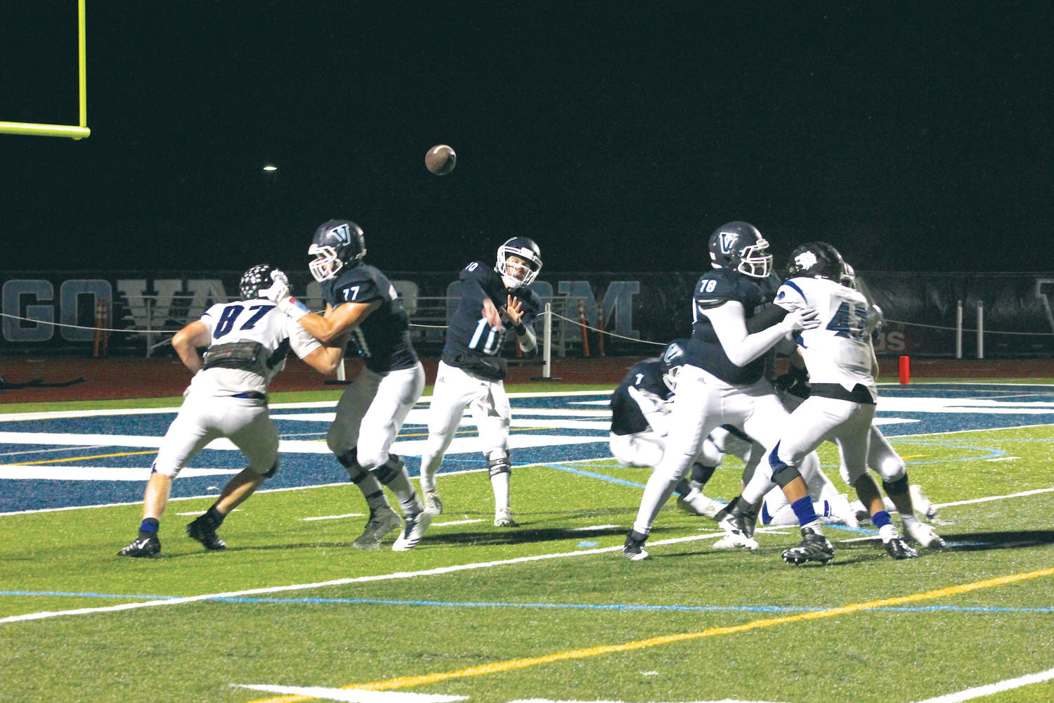 Valor Christian senior quarterback Blake Stenstrom throws a pass during the Nov. 17 Class 5A quarterfinal playoff game against Grandview. Stenstrom completed six of 12 passes for 59 yards and ran for 18 yards but Grandview upset top-seeded and previously unbeaten Valor, 28-16, on a cold night with rain and snowy conditions.