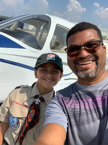 Mobile, AL—My wife, Zakia Datcher, and I flew to Mobile, Alabama, to visit with cousins. While there, we tried to inspire the next generation of aviators. Joseph Jackson is pictured in the Cub Scout uniform, and Gabriel Jackson is in the blue shirt.