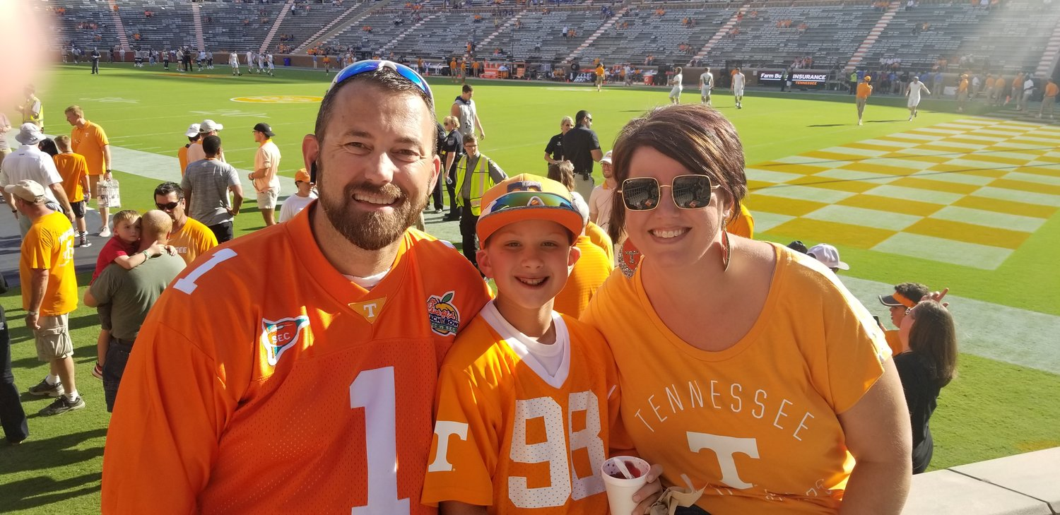 Knoxville, TN—I got to take Kyler to his first UT Vols game thanks to CIC giving us amazing tickets, just three rows off the field behind the Vols bench.