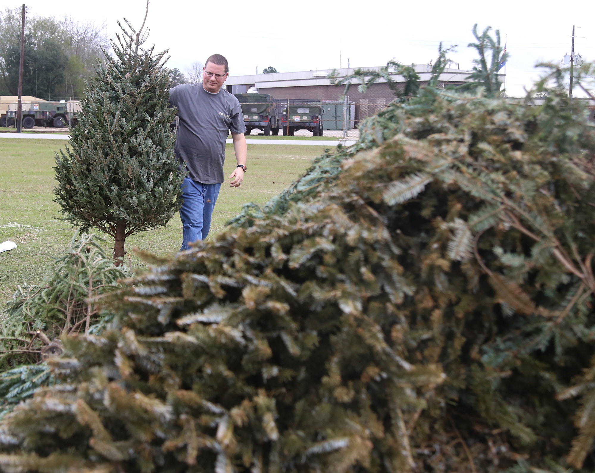 Chris Merendino drops off his Christmas Tree at the Grinding of the Greens location at the front of Dillon Park at a past year's event. Free mulch from this year's Grinding of the Greens will be available at Dillon Park on Saturday beginning at 7 a.m.