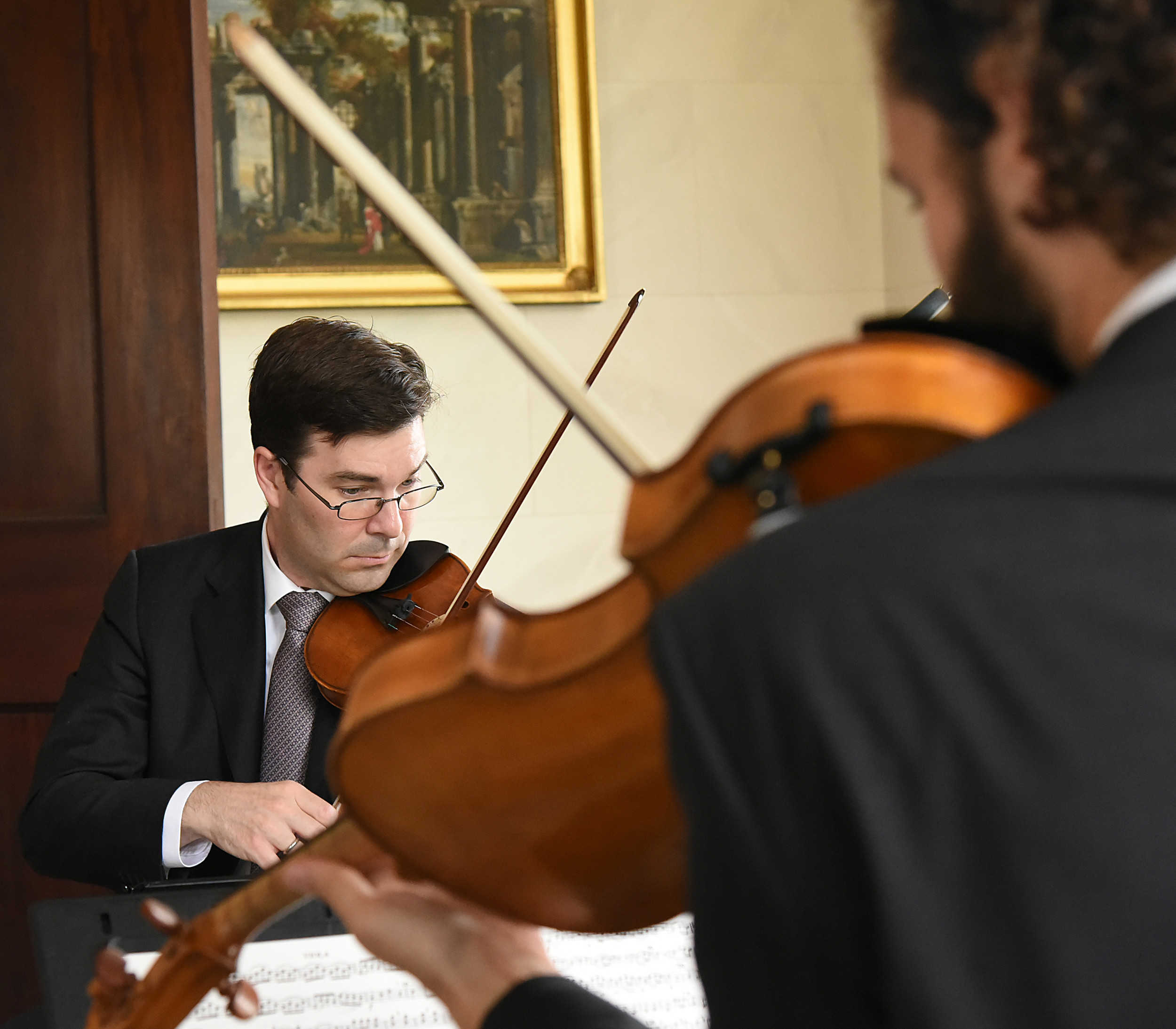 First Associate Concertmaster of the Los Angeles Philharmonic Nathan Cole, left, performs on an Antonio Stradivari handmade violin once owned by Jack Benny as Ben Ullery joins him on the viola. This was the fifth Music at Millford concert held at the plantation.