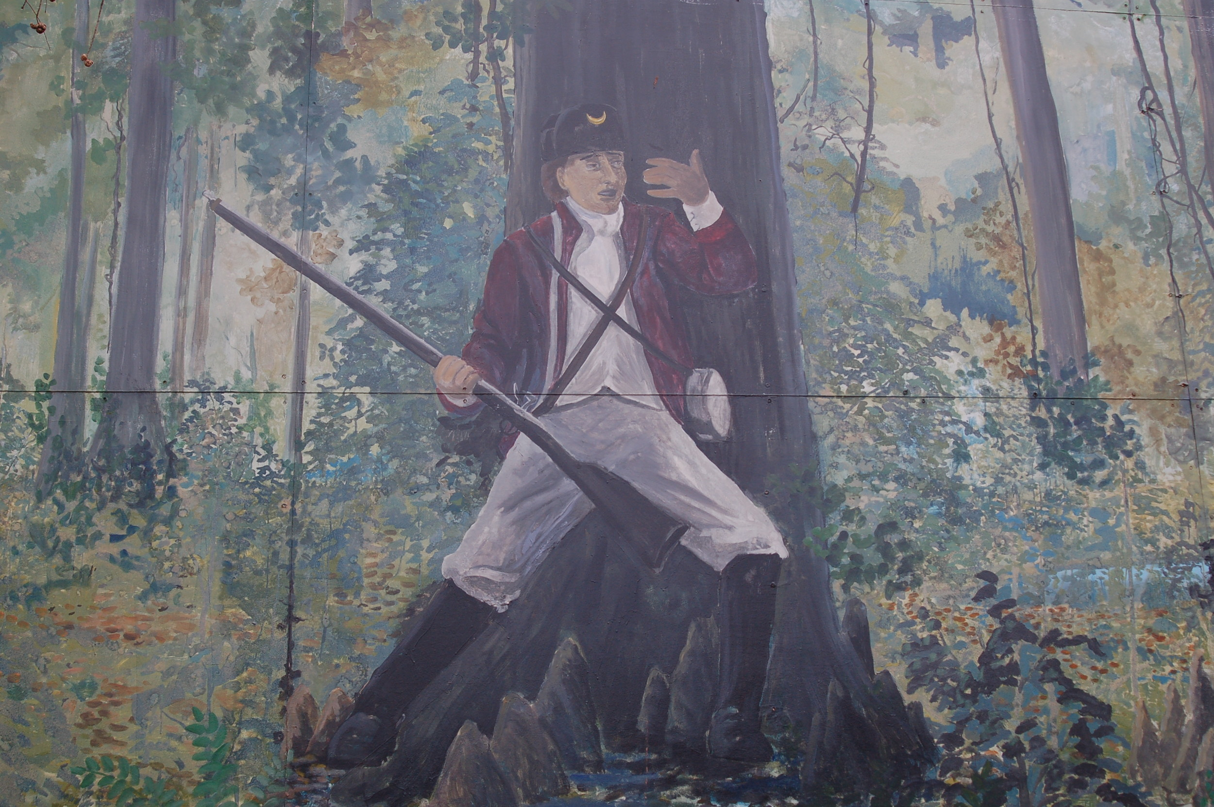 "A patriot depicted in the first mural painted in Clarendon County, the ""Swamp Fox at Ox Swamp,""  is seen in this detail from the larger mural, which is located at the Manning Fire Department building. The mural was painted by Stateburg resident Will Anderson in 2001."
