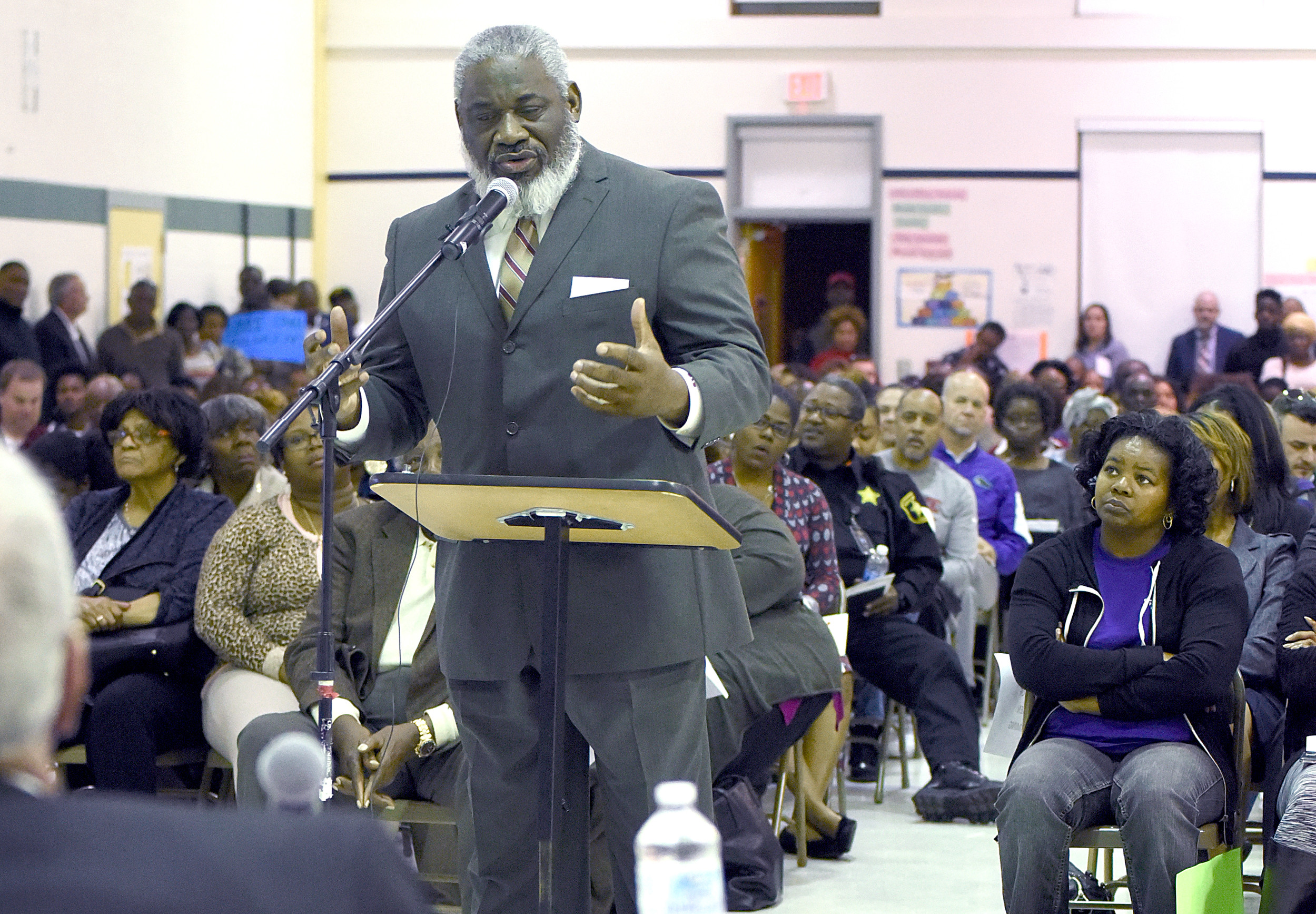 The Rev. Willie Wright, pastor of New Bethel Missionary Baptist Church, was one of at least three pastors who spoke out Monday night during the Sumter School District Board of Trustees meeting at Wilder Elementary School.