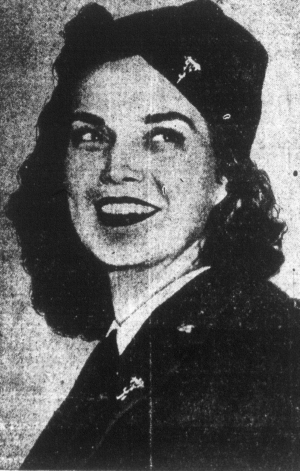 Nurse Juanita Redmond, decorated for her bravery under fire on bloody Bataan peninsula, is seen before her arrival in Sumter to visit her brother Robert Redmond, manager of Edens Super-Market. During her time in Sumter, Lt. Redmond visited Shaw Field and assisted in the sale of war bonds and stamps at her brother's store.