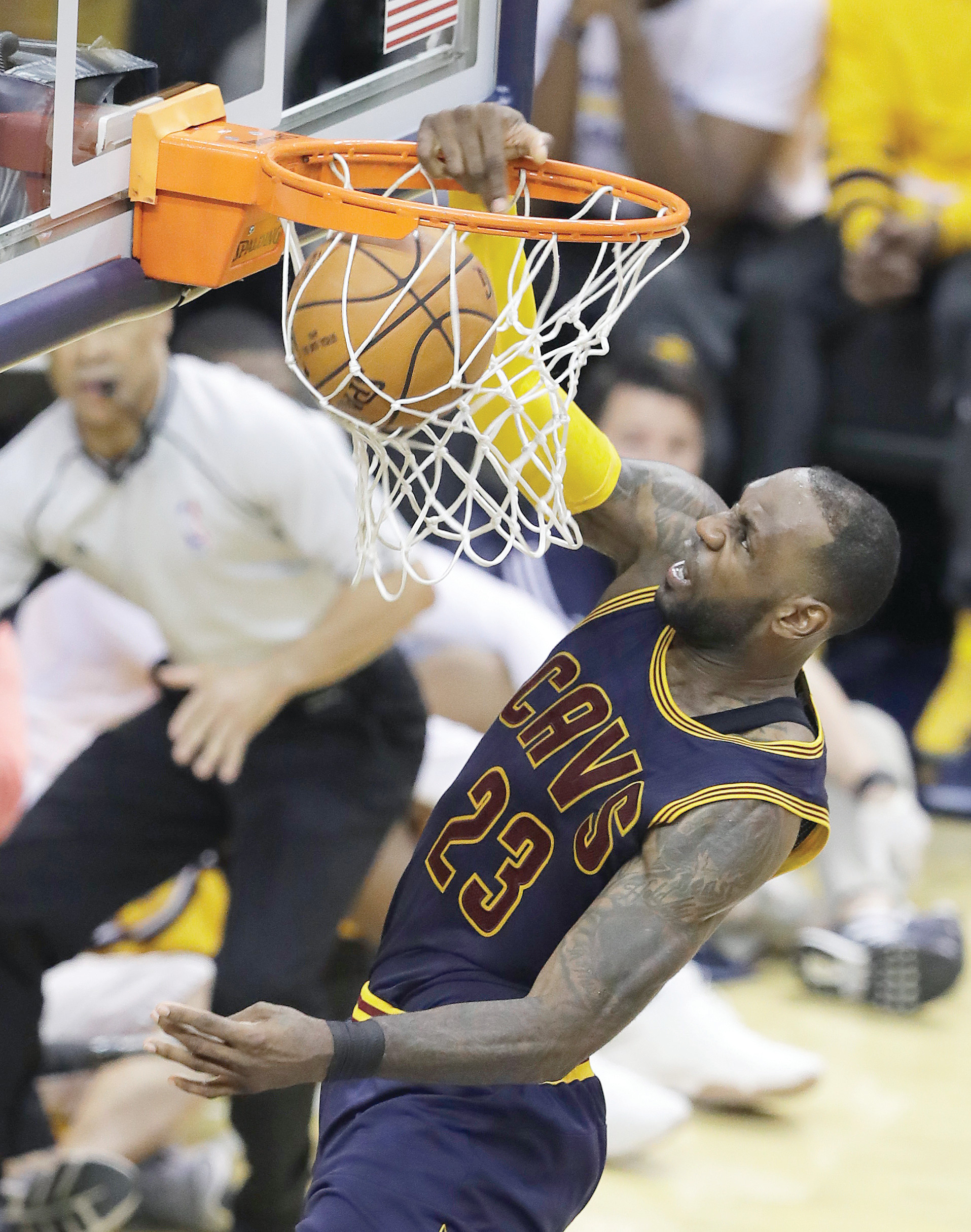 Cleveland forward LeBron James dunks during the second half of the Cavaliers' 119-114 victory over Indiana on Thursday in Game 3 of an Eastern Conference playoffs series in Indianapolis. The Cavs rallied from 26 points down to take a commanding 3-0 lead in the series.