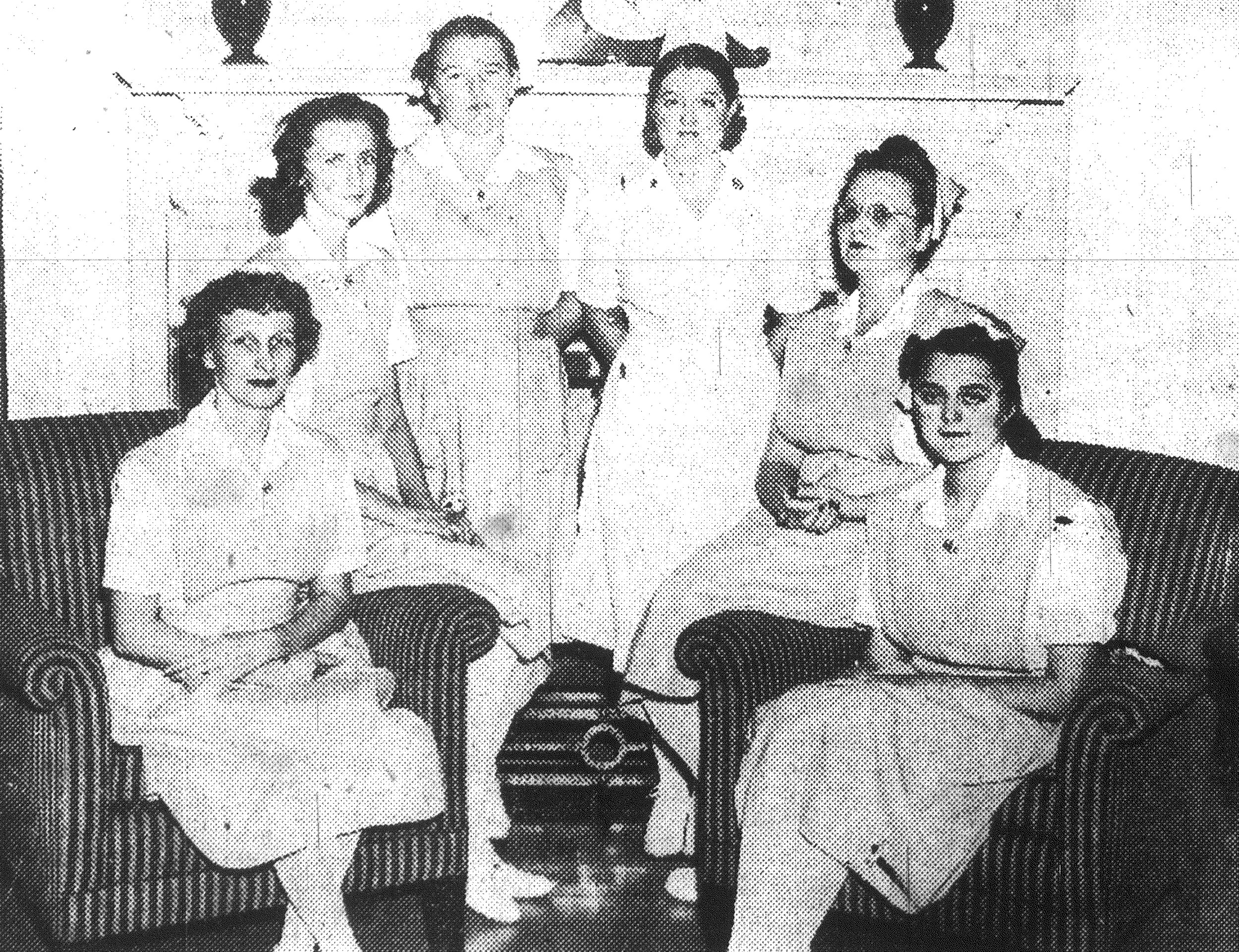 1942 - Sumter's second class of nurse's aides wear their pins and caps received at graduation exercises. From left, they are Mrs. Dudley Hodge, Mrs. Eugene Osteen, Miss Virginia Mabry, Mrs. Gordon, Mrs. W.V. Chadwick and Mrs. Sam Pace.