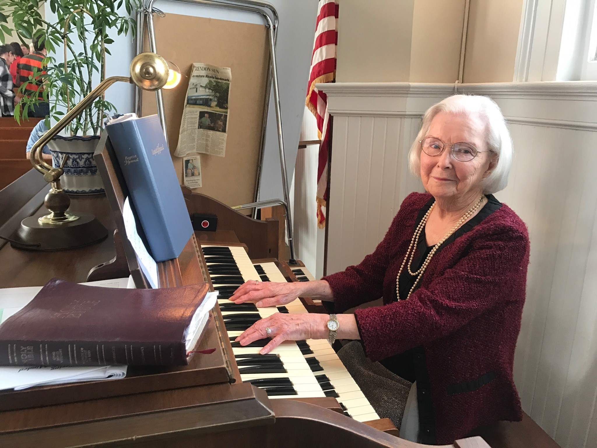 "Virginia ""Ginny"" Durant continues to play organ each Sunday at Clarendon Baptist Church in Alcolu."