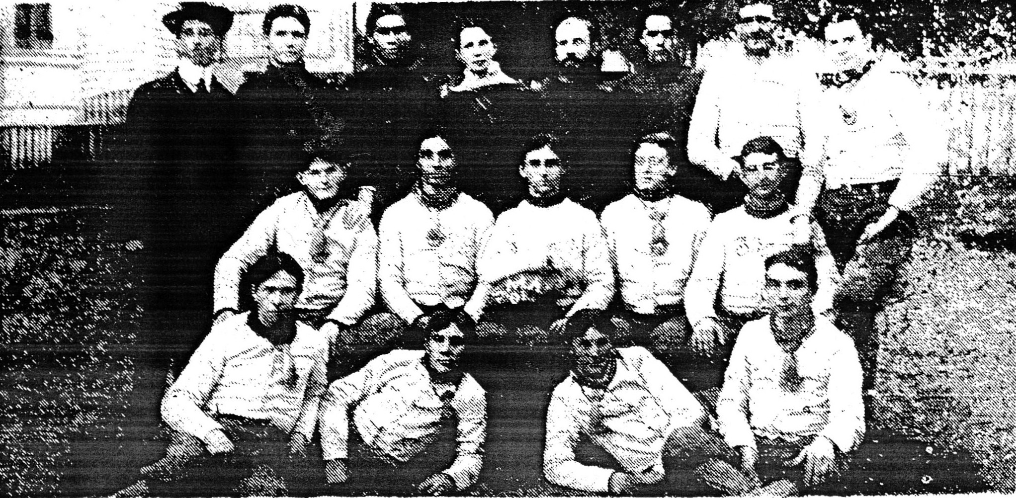 Standing at top left is L.C. Moise, believed to be Sumter's first football coach. This photo shows the 1901 Sumter Military Academy team, for which he was the manager. Others in the picture are, standing to the right of Moise, Professor Chase; W.E. Hicks; Manning; Jim George; Smith. Center row: Capers; E.P. Durant; C. Brogdon captain; Edwards. Front row: N.B. Hicks; A. Clark; T. Woods; T. Durant.