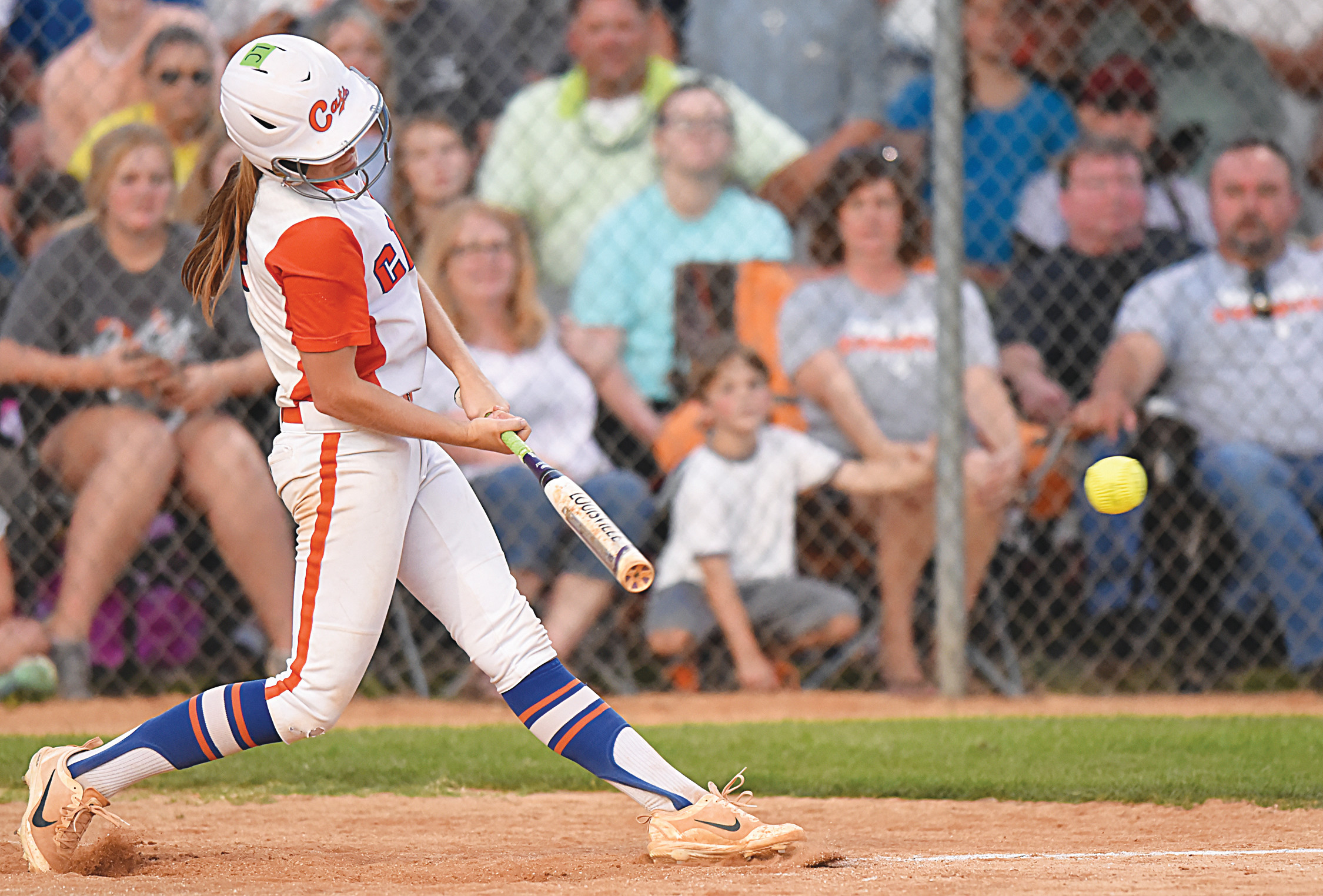 Laurence Manning Academy shortstop Brooke Ward hammers a line drive that hits third  base and stays fair during the Lady Swampcats' come-from-behind 3-2 victory over Wilson Hall in extra innings in the deciding game of the SCISA 3A state championship series.