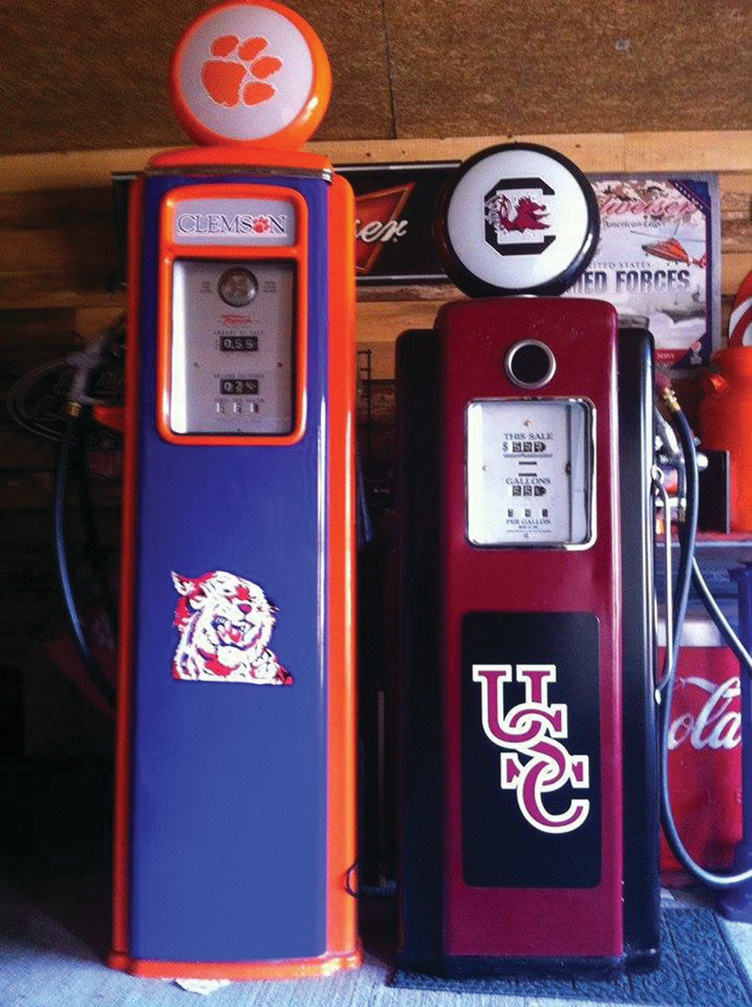 These vintage restored gas pumps (nonfunctional) are being raffled off to raise funds for Tripp Hussey, who is riding in the Alzheimer's Association A Ride to Remember bike ride. The University of South Carolina pump is a Wayne 70 and is 78 inches tall. The Clemson pump is a Tocheim 39 and is 92 inches tall. Tickets are one for $20 or six for $100. The drawing will be held on June 1 at Mariachi's in Manning. You need not be present to win. The winner chooses either pump. All proceeds go to the Alzheimer's Association. Call or text (803) 473-0283 for additional information.