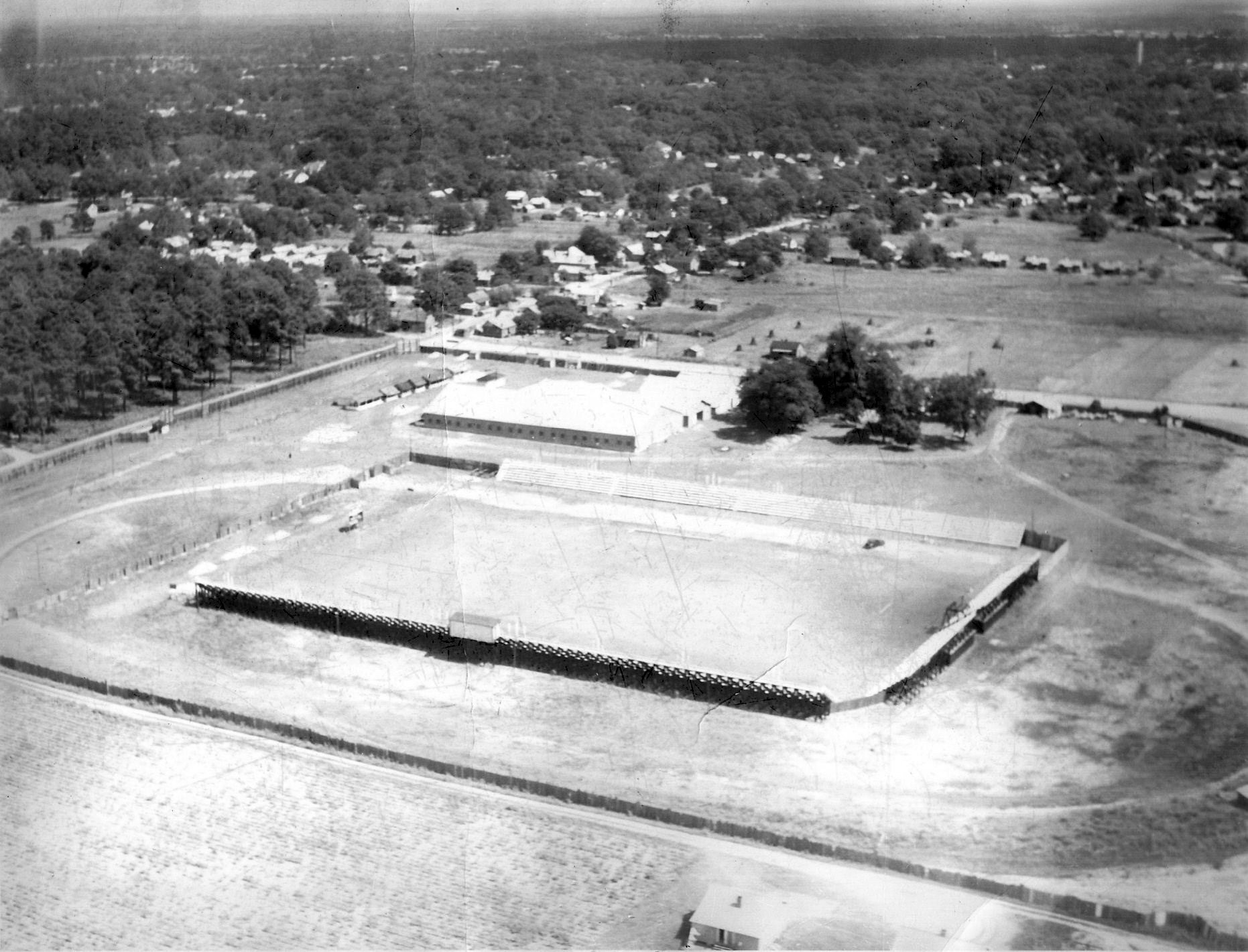 The football stadium formerly located at the Sumter fairgrounds is seen.