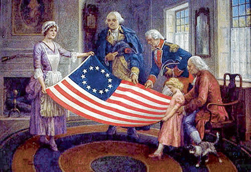 This 1950 painting by Walter Haskell Hinton shows Betsy Ross with the flag she is believed to have made at the request of Gen. George Washington. Stories she told her descendants in the years before her death are the only evidence that she actually made the flag. Today is Flag Day, dedicated to celebrating the American Flag.