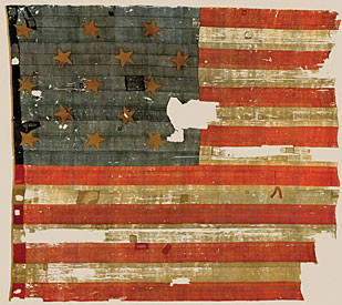 "The original U.S. Flag that inspired Francis Scott Key to write ""The Star-Spangled Banner"" is on display at the Smithsonian Institution's National Museum of American History in Washington, D.C"