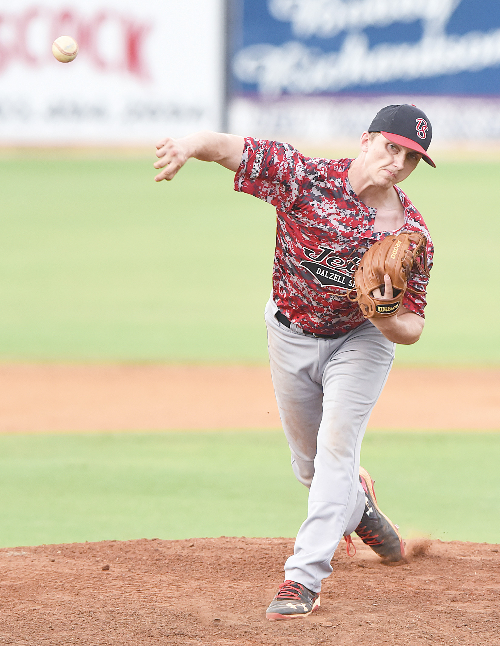 Dalzell-Shaw starting pitcher Josh Whitley tossed a 1-hit shutout in five innings on Thursday as the Jets defeated Sumter 3-0 in a rain-shortened contest at Riley Park.
