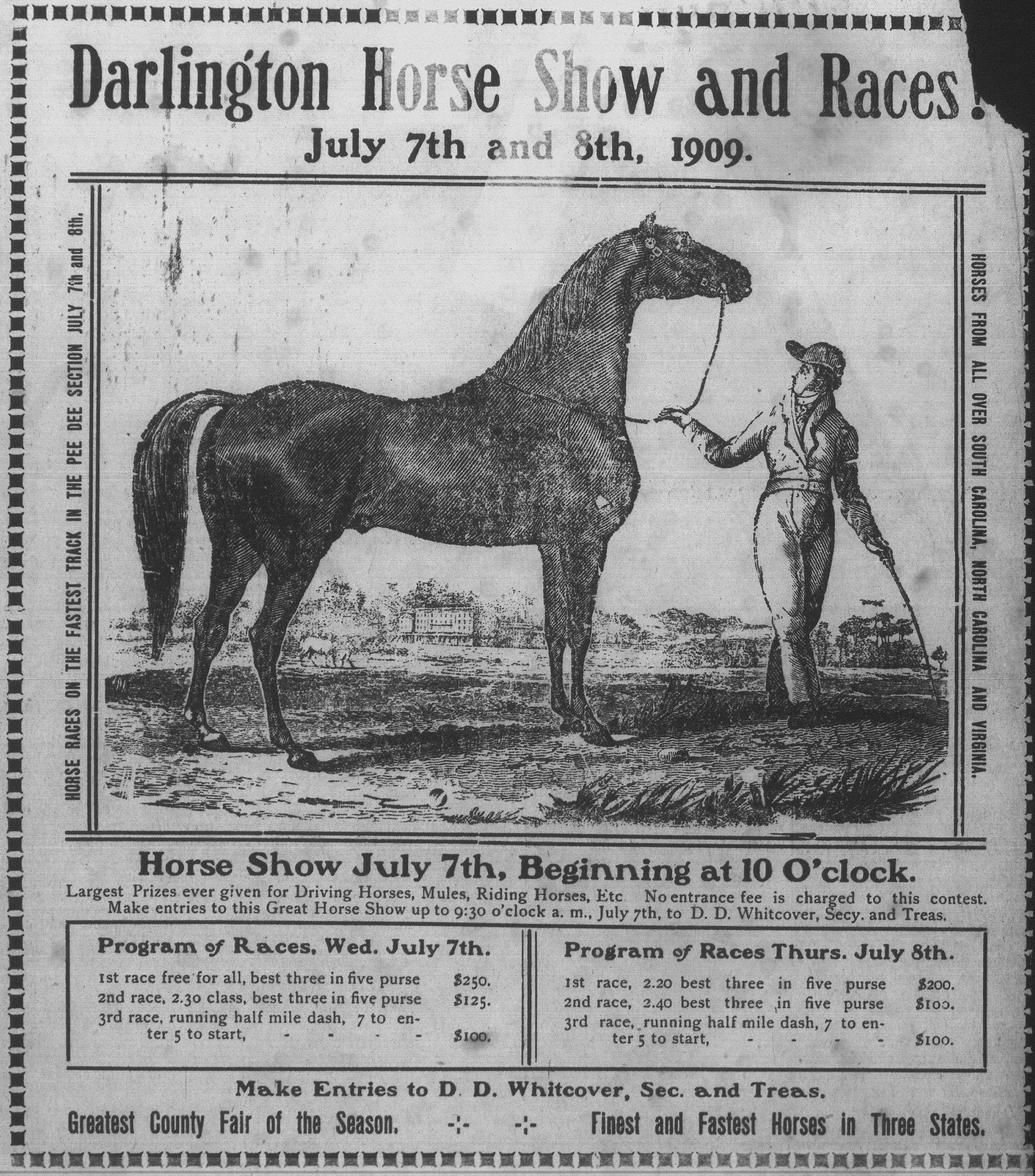 This ad for the Darlington Horse Show and Races was published in 1909.