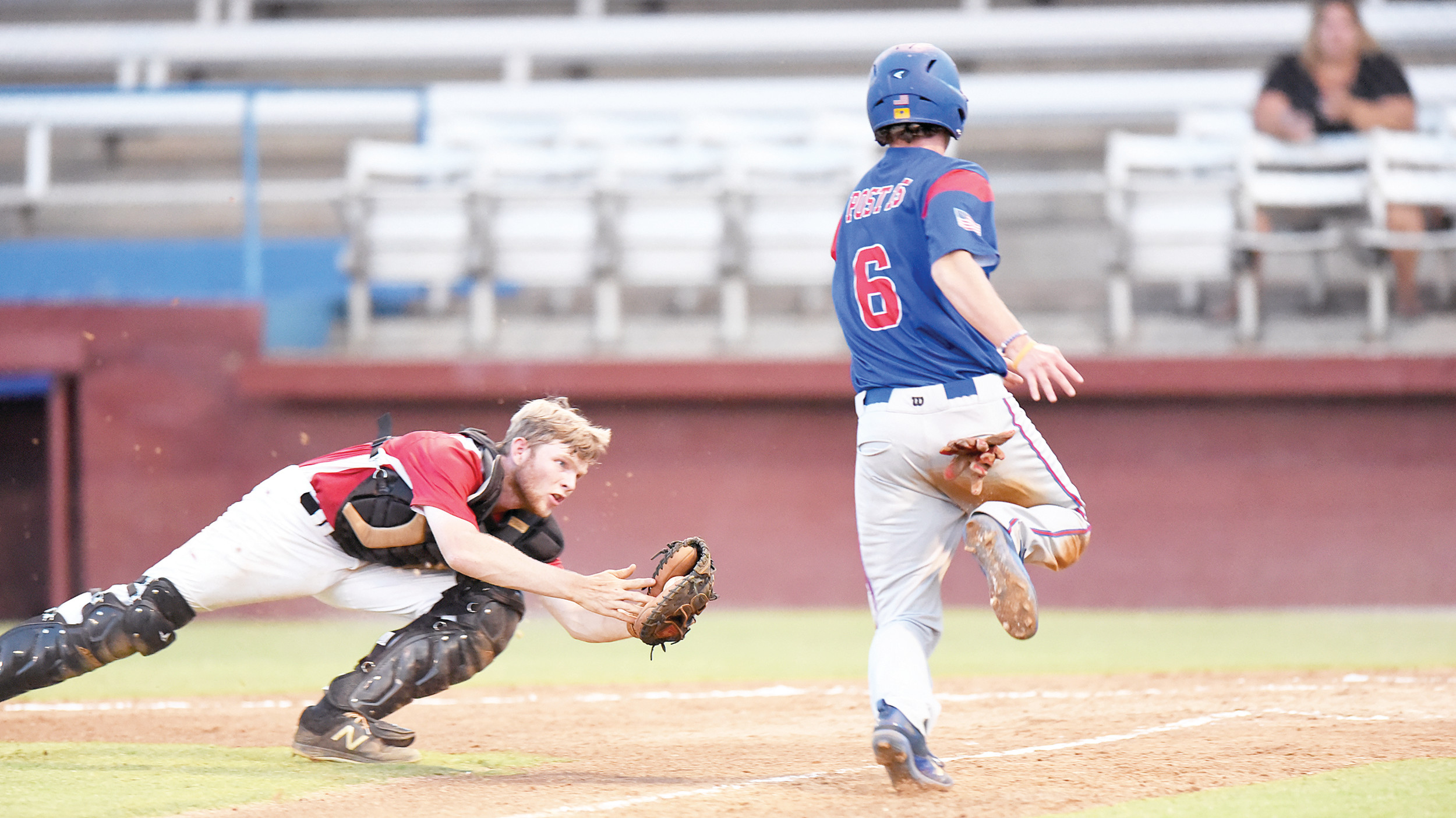 Sumter's Caleb Larrimore (6) scores the first run of the game as Murrells Inlet catcher Kevin Fries lunges to try to get the out during the P-15's 11-1 victory on Wednesday in the opening game of a first-round American Legion state playoff series at Riley Park.