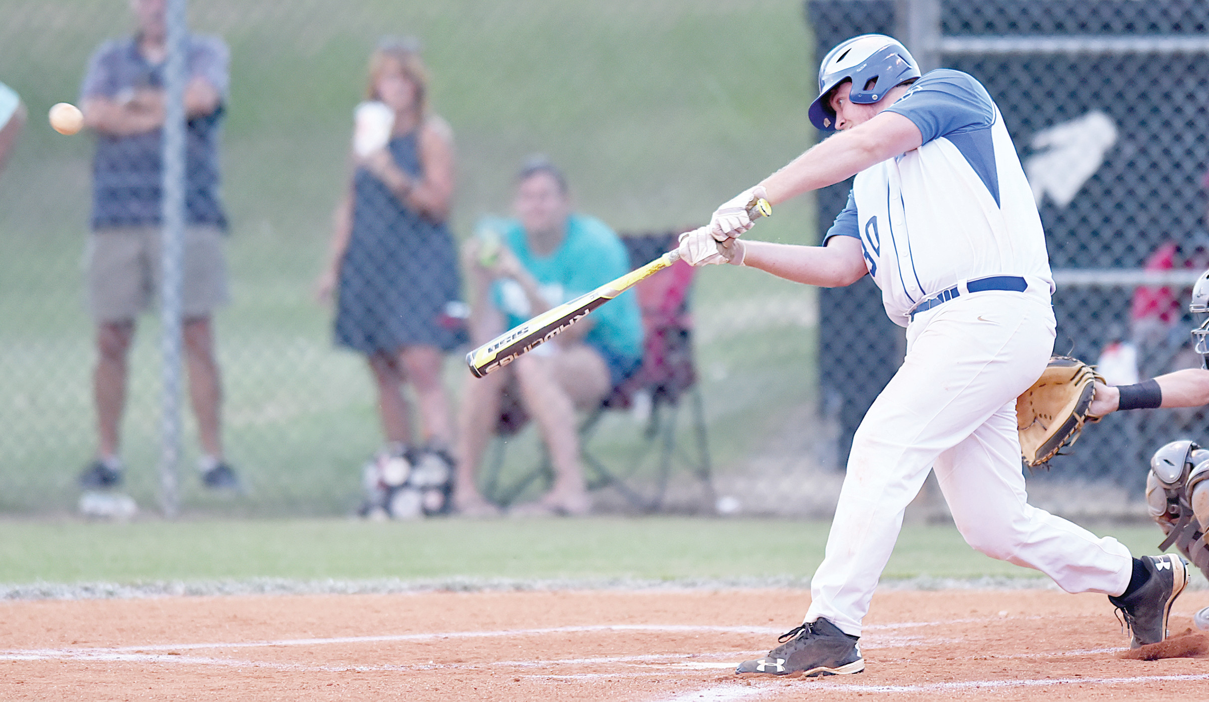 Manning-Santee designated hitter Connor Floyd connects on a pitch for a double during Post 68's 16-5 loss to Horry in seven innings on Thursday in Game 2 of a first-round American Legion state playoff series at Monarch Field in Manning.