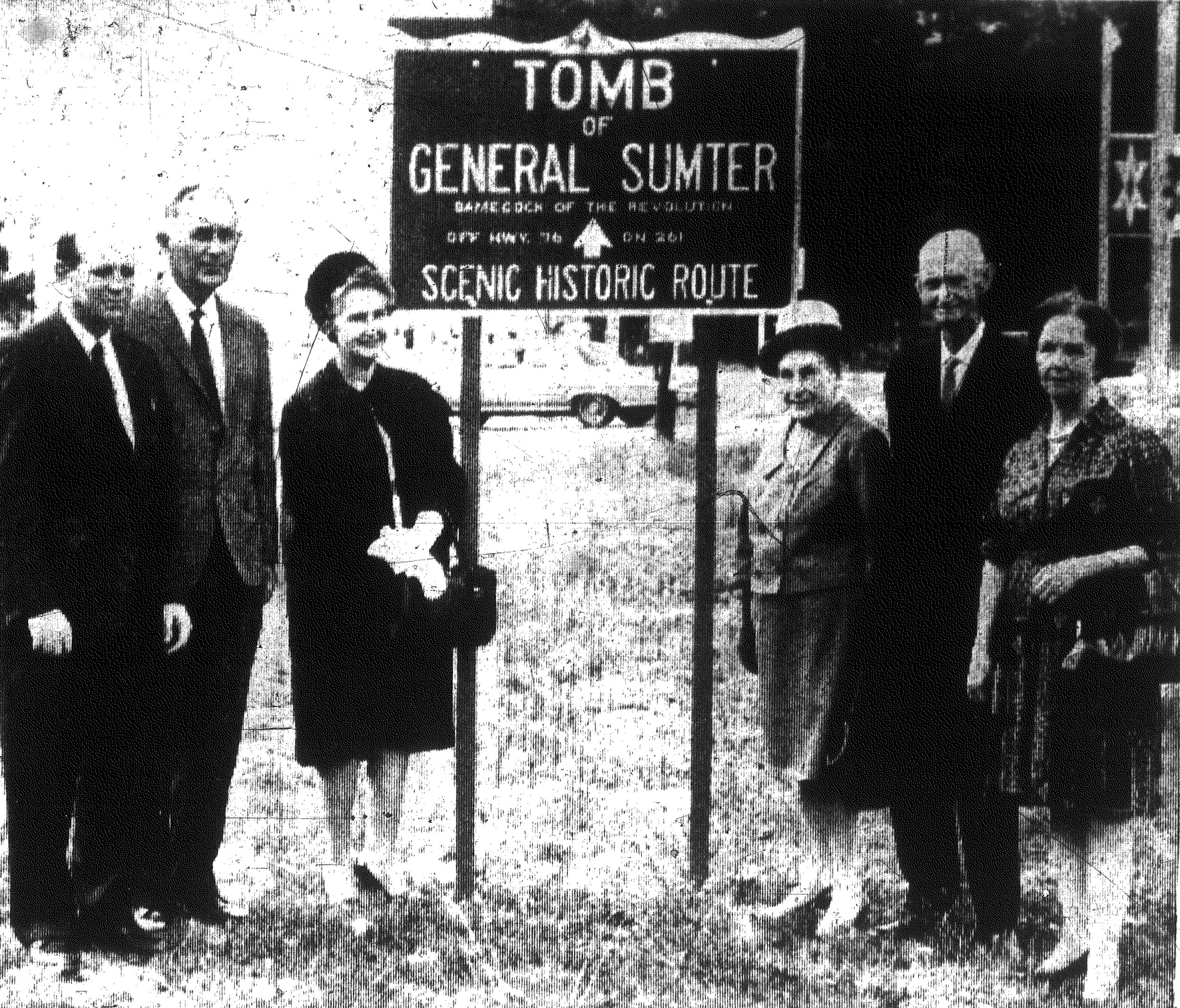 1967 - This is one of 25 signs directing the public to the tomb of Gen. Thomas Sumter that have been erected in Sumter County. Among those who provided leadership for the project are, from left, State Sen. Henry B. Richardson; McBride Dabbs, chairman of the Sumter County Historical Commission; Mrs. M. Vance Dawkins, last year's regent of the Daughters of the American Revolution; Mrs. S. Oliver Plowden, both on the tomb committee of the Sumter County Historical Commission; and Mrs. Myrtis G. Osteen, secretary-treasurer of the Sumter County Historical Commission.