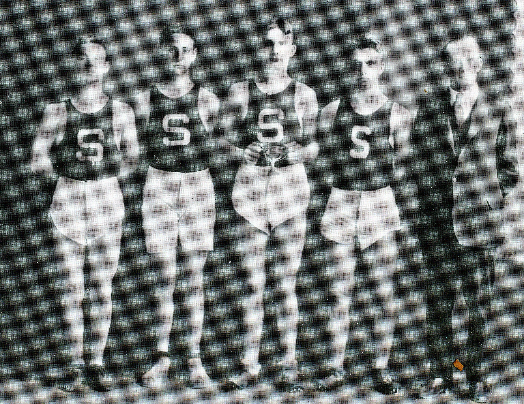 The 1920 Sumter High School basketball team comprised, from left, J.M. Fraser; Harry Ryttenberg; Harold DeLorme, captain; Jack Chandler; and William Winn, coach.
