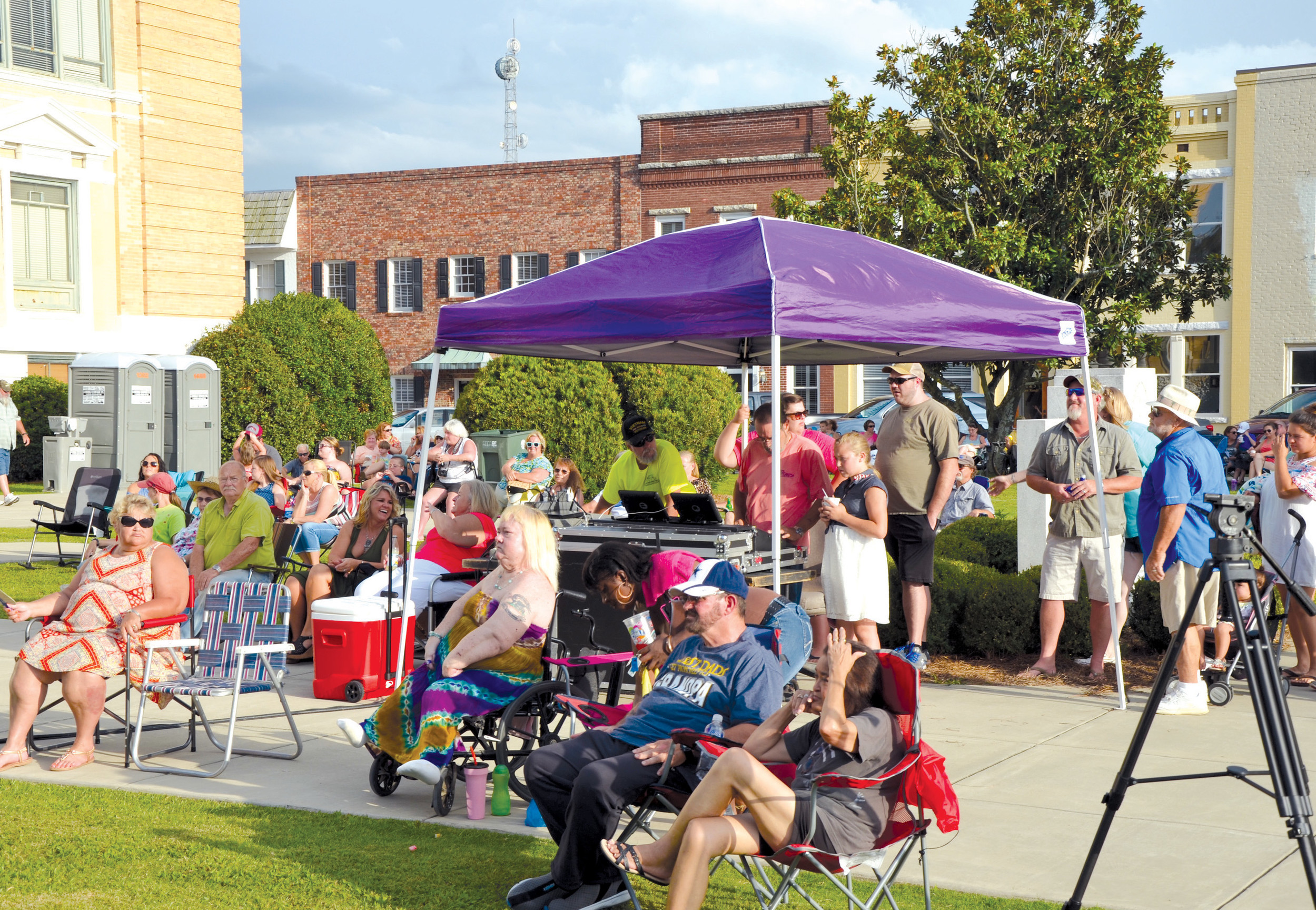 Crowds for this summer's Fourth Fridays concert series have been very good. The concerts are now held on the Sumter County Courthouse lawn, but nothing else has changed except the bands, which are different each week and play a variety of music.