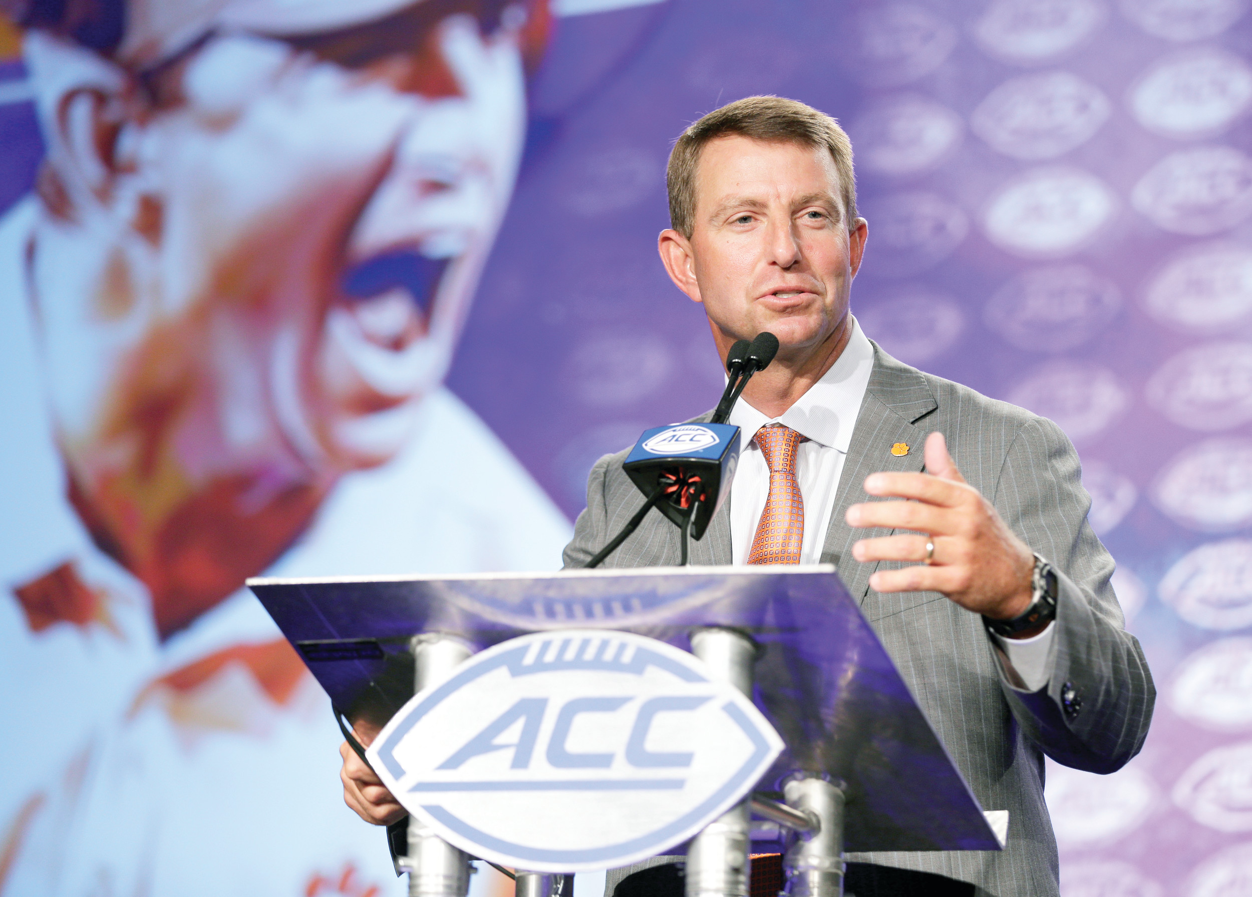 Clemson head coach Dabo Swinney speaks to the media on Thursday at Atlantic Coast Conference media days in Charlotte. Swinney said he isn't concerned with the players he lost from last year's national championship team, but rather the potential of the players he has for this year.