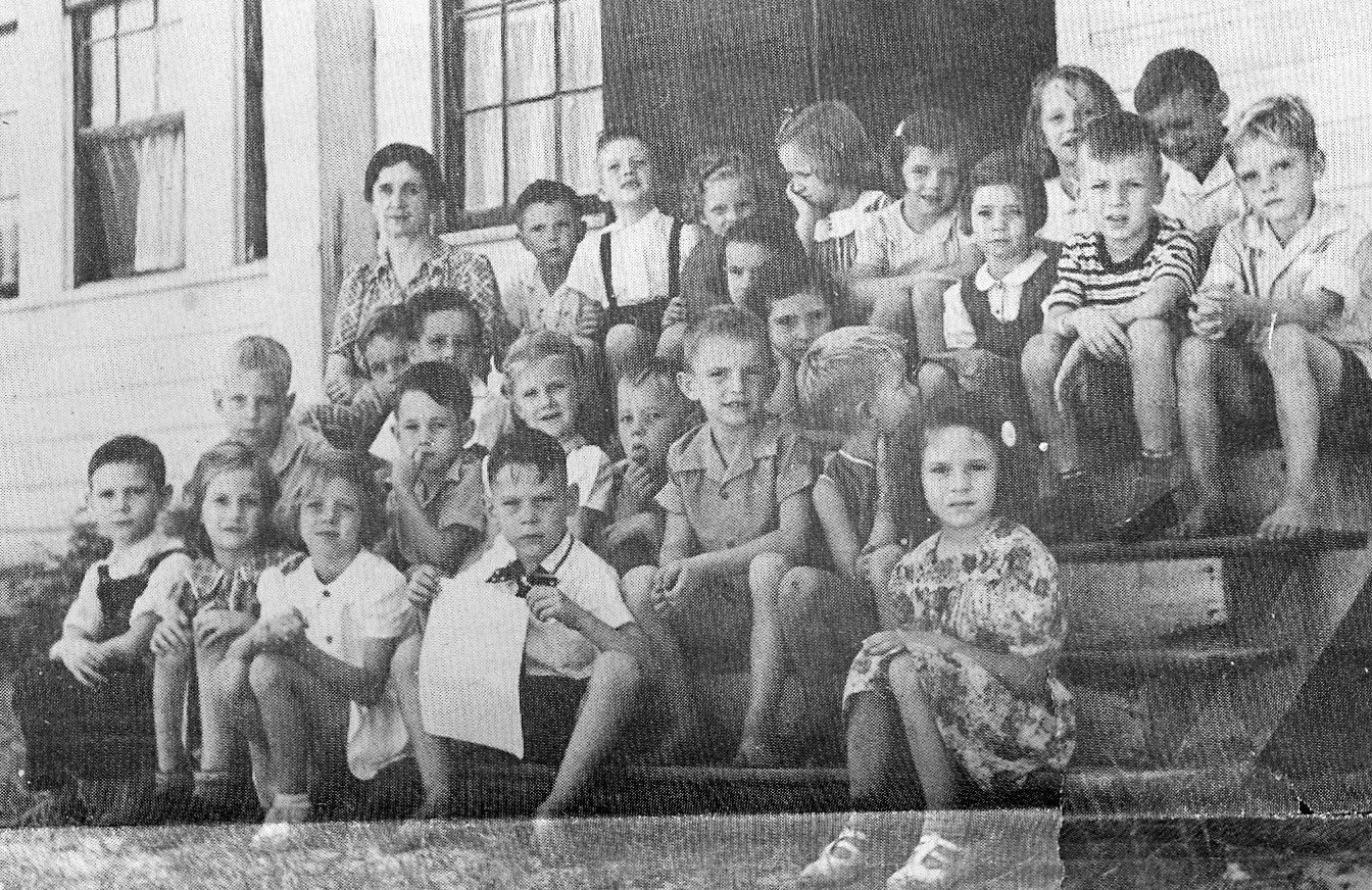 The 1941-42 first grade at Miller School is seen with teacher Miss Jennie McLeod.