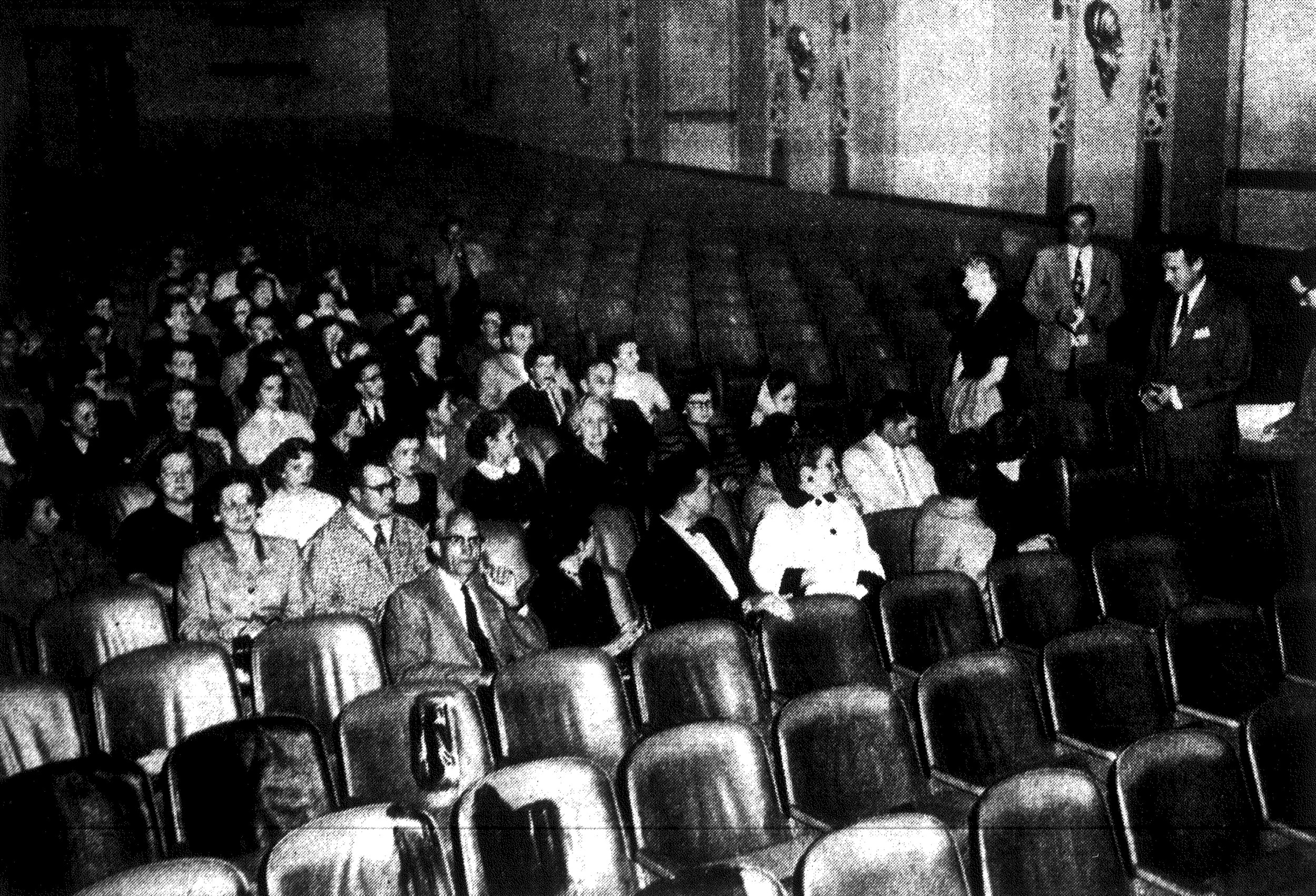 Personnel from Merchants Assn. stores in Sumter attend a kickoff meeting for the Salesperson of the Week Contest at the Sumter Theatre in October 1955.