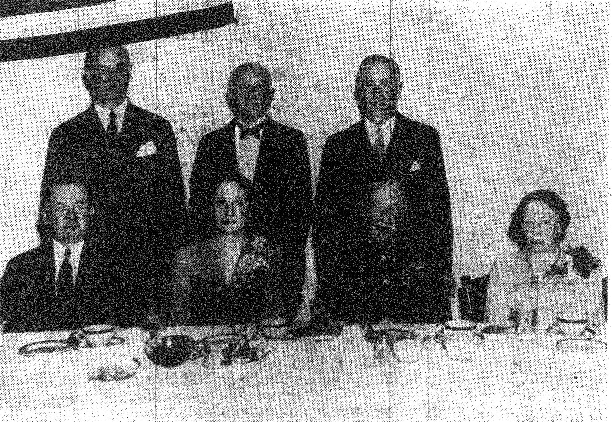 At the dinner honoring Maj. Gen. Emile P. Moses, Sumter native and commander of the Parris Island Marine Base are, seated from left, Mayor F.B. Creech, Mrs. Emile P. Moses, Gen. Moses and Miss Kate Moses, sister of the general. Back row: Edwin B. Boyle, toastmaster; Herbert A. Moses and Henry P. Moses, brothers of the honor guest.