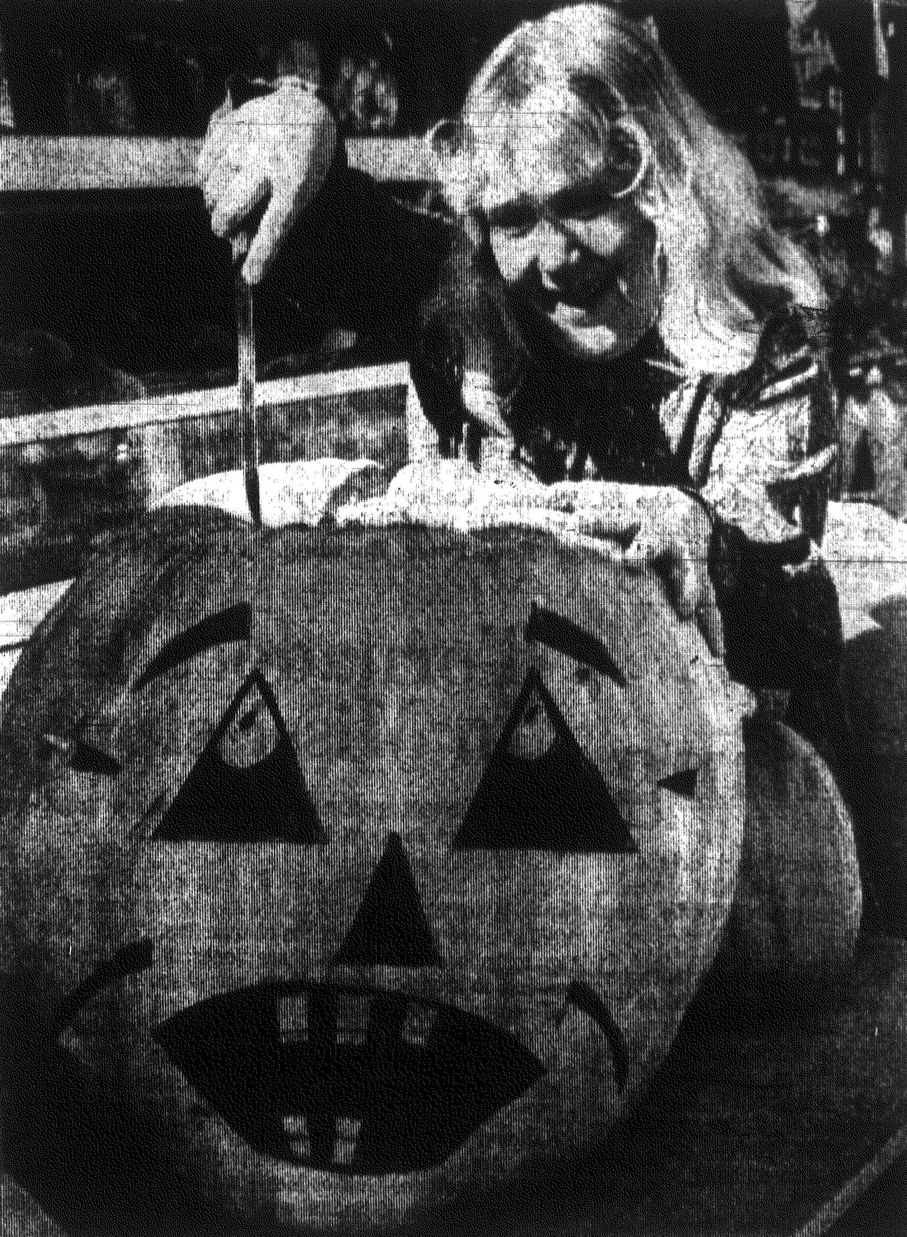 1967 - Carving a pumpkin is a big project for 10-year-old Debbie Prince, who won this 100-pound giant in a drawing at Tom's (Bradley) Fruit Stand on North Main Street. Baking pies looms even larger on the ghost-filled horizon for her mother, Mrs. John Prince, who says she'll make the first two after the light fades from eerie jack-o'-lantern eyes tonight.