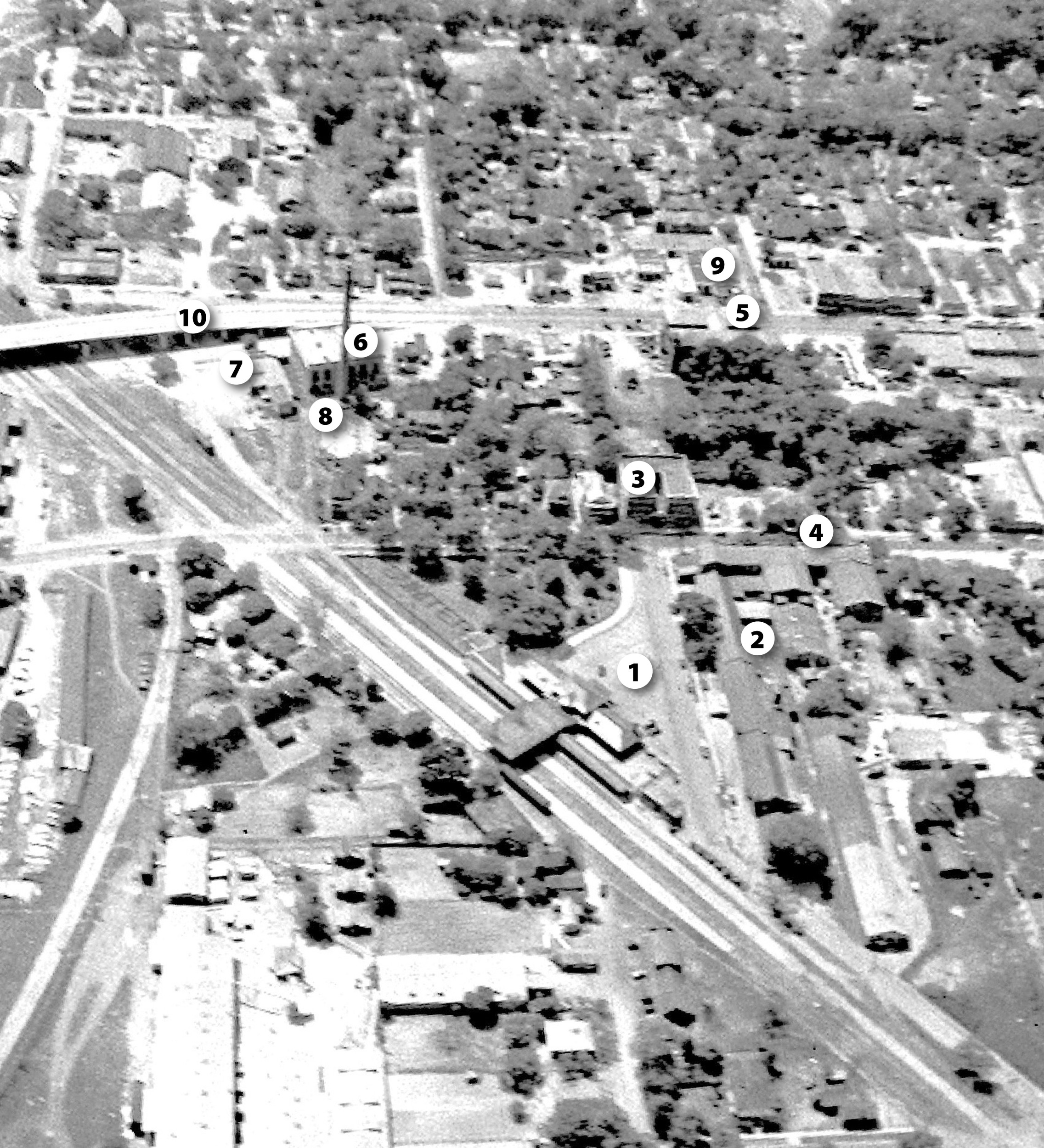This aerial photograph of Sumter's South Harvin Street area was taken by the late Heyward Crowson, probably in the mid-1940s.