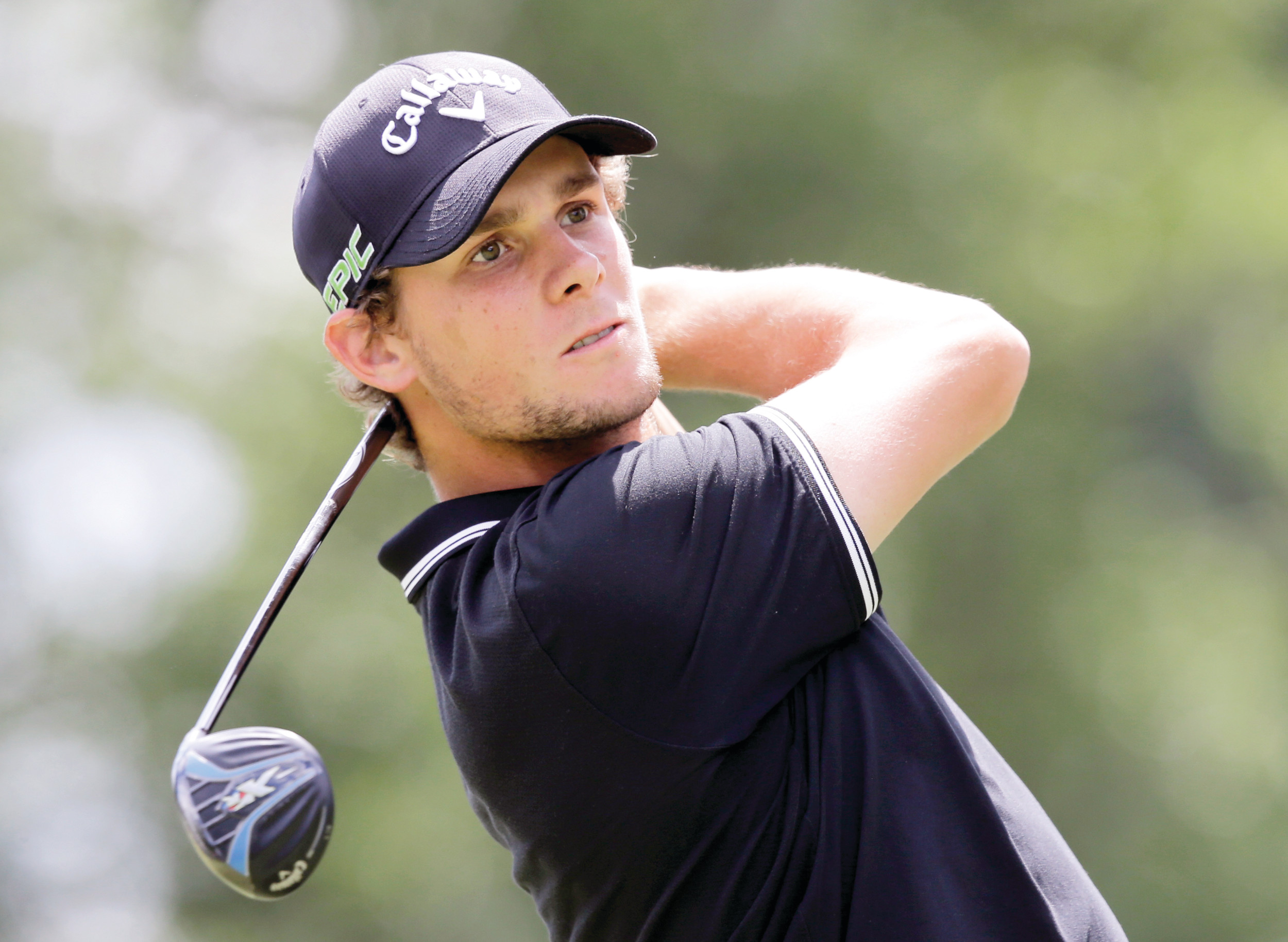 Thomas Pieters tees off on the third hole during Saturday's third round of the Bridgestone Invitational at Firestone Country Club in Akron, Ohio. Pieters shot a 66 and was tied for the lead with Zach Johnson.