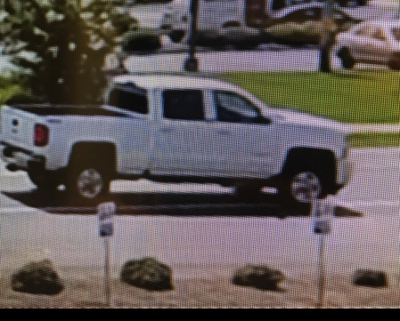 A white pickup, possibly a Chevrolet, was spotted leaving a Sumter car dealership after an undetermined number of tires were stolen.